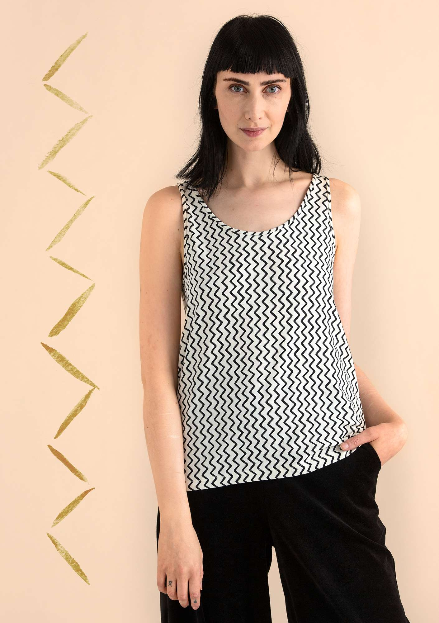 VIGG tank top in modal/eco-cotton/spandex black/patterned
