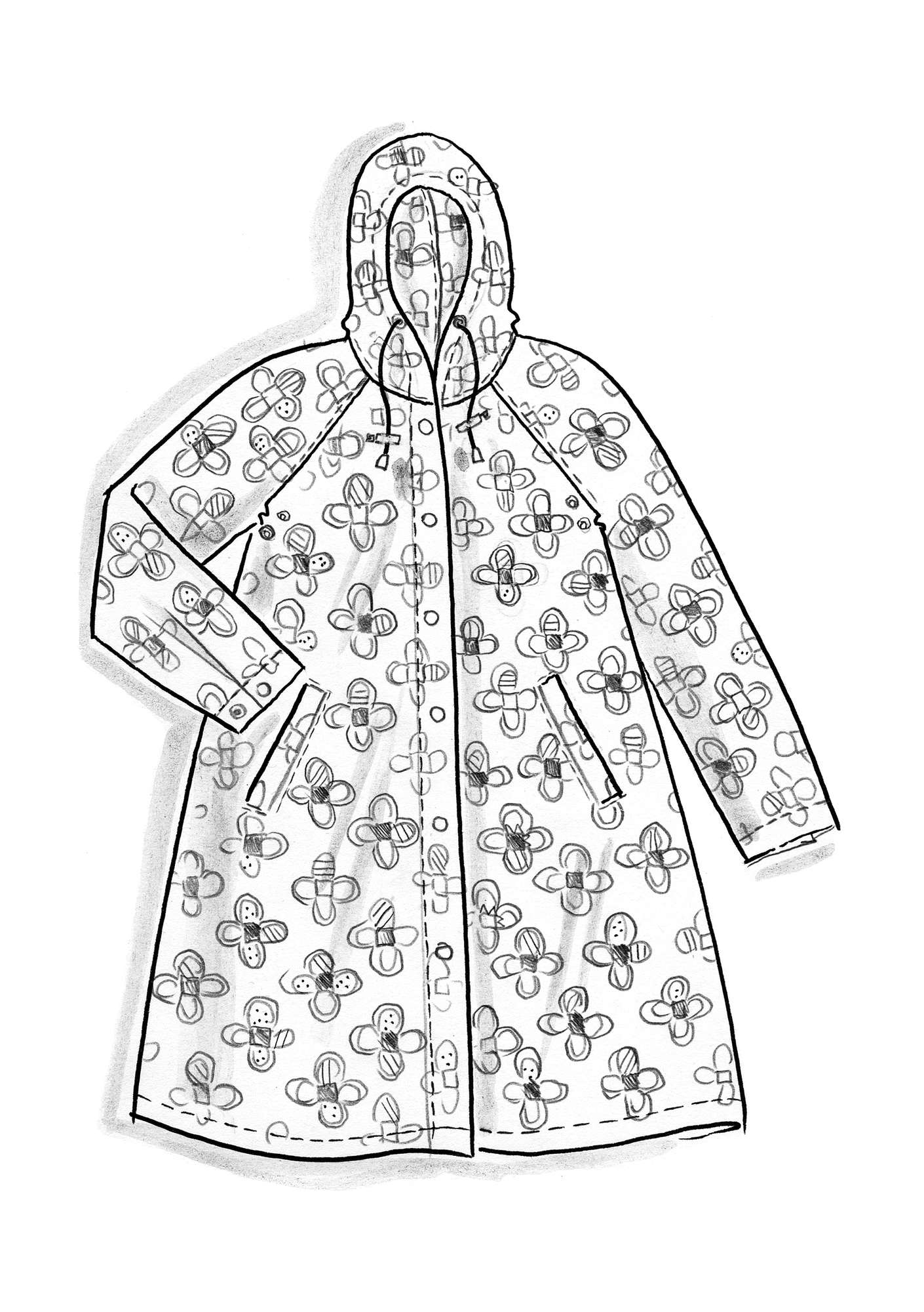 Organic cotton raincoat CINDY black
