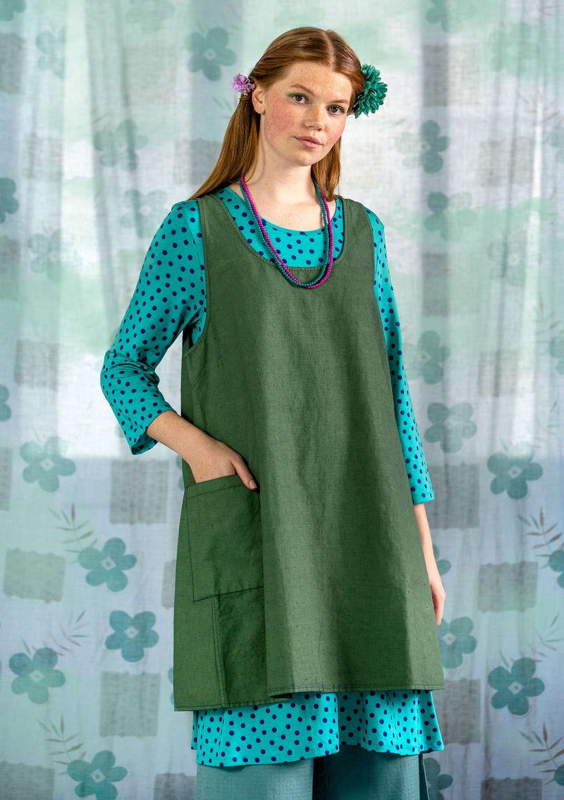 """Twin"" reversible apron in linen/organic cotton ocean green"