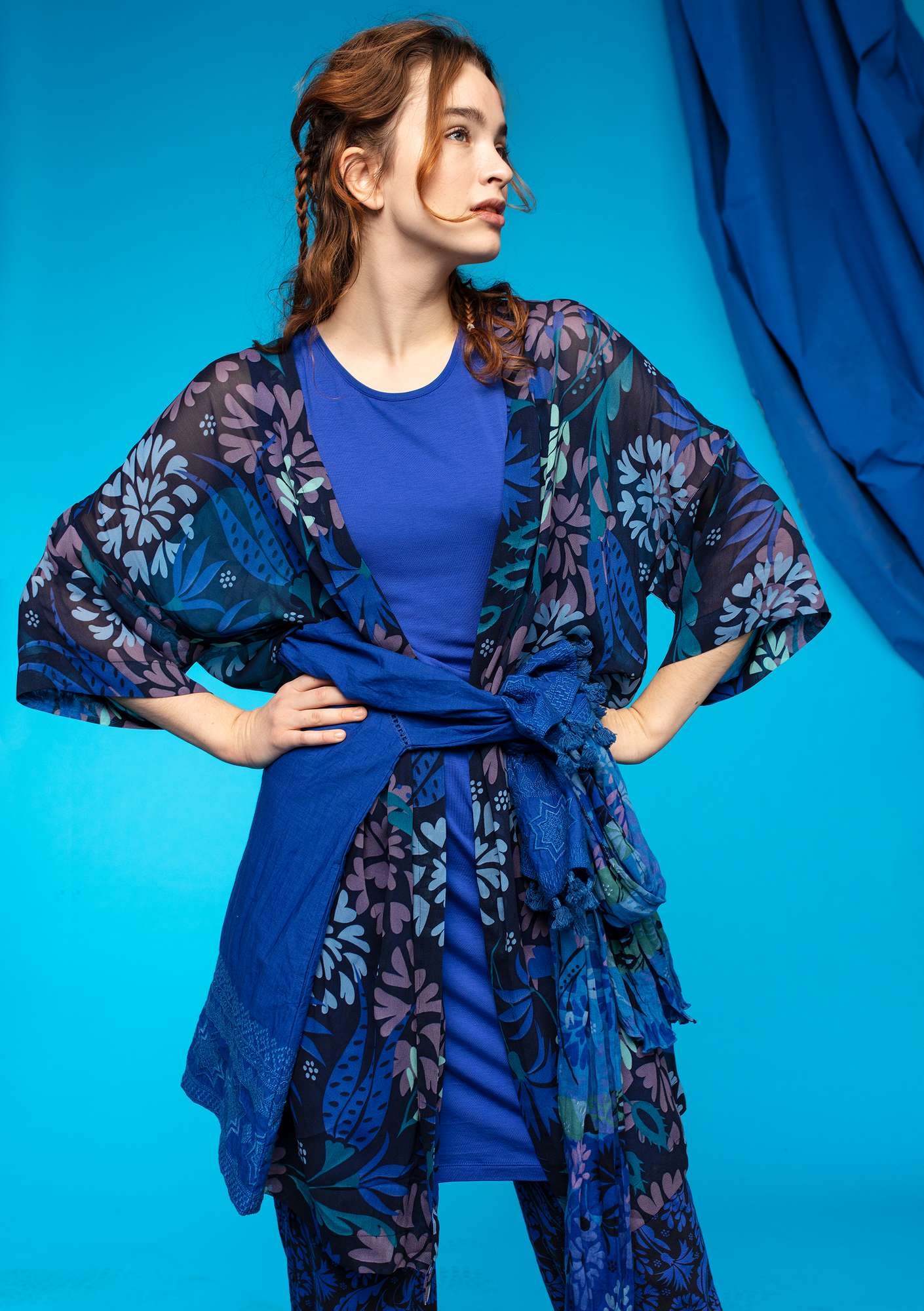 """Oas"" long viscose kimono midnight blue"