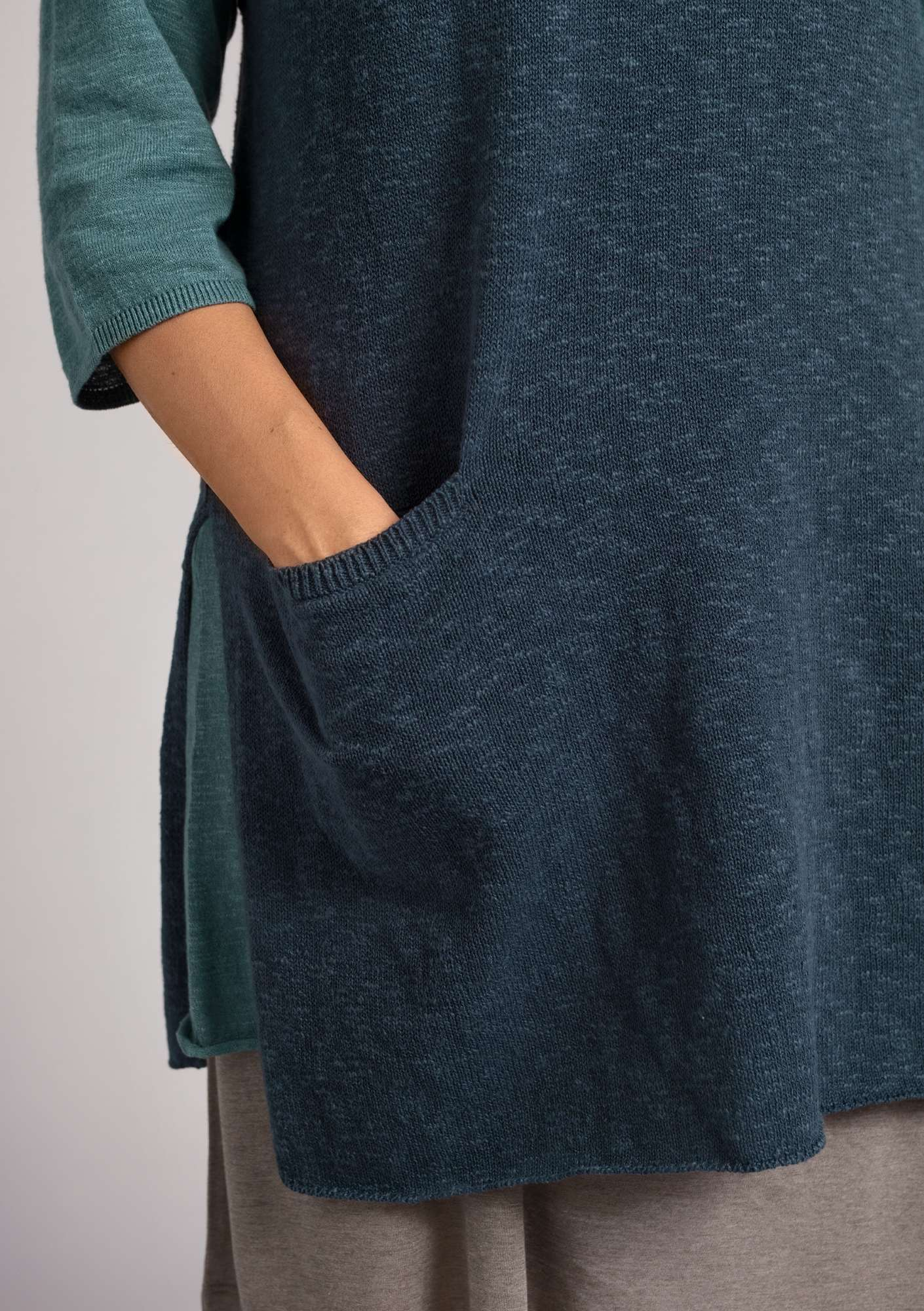 Sleeveless tunic in organic cotton/linen ink blue
