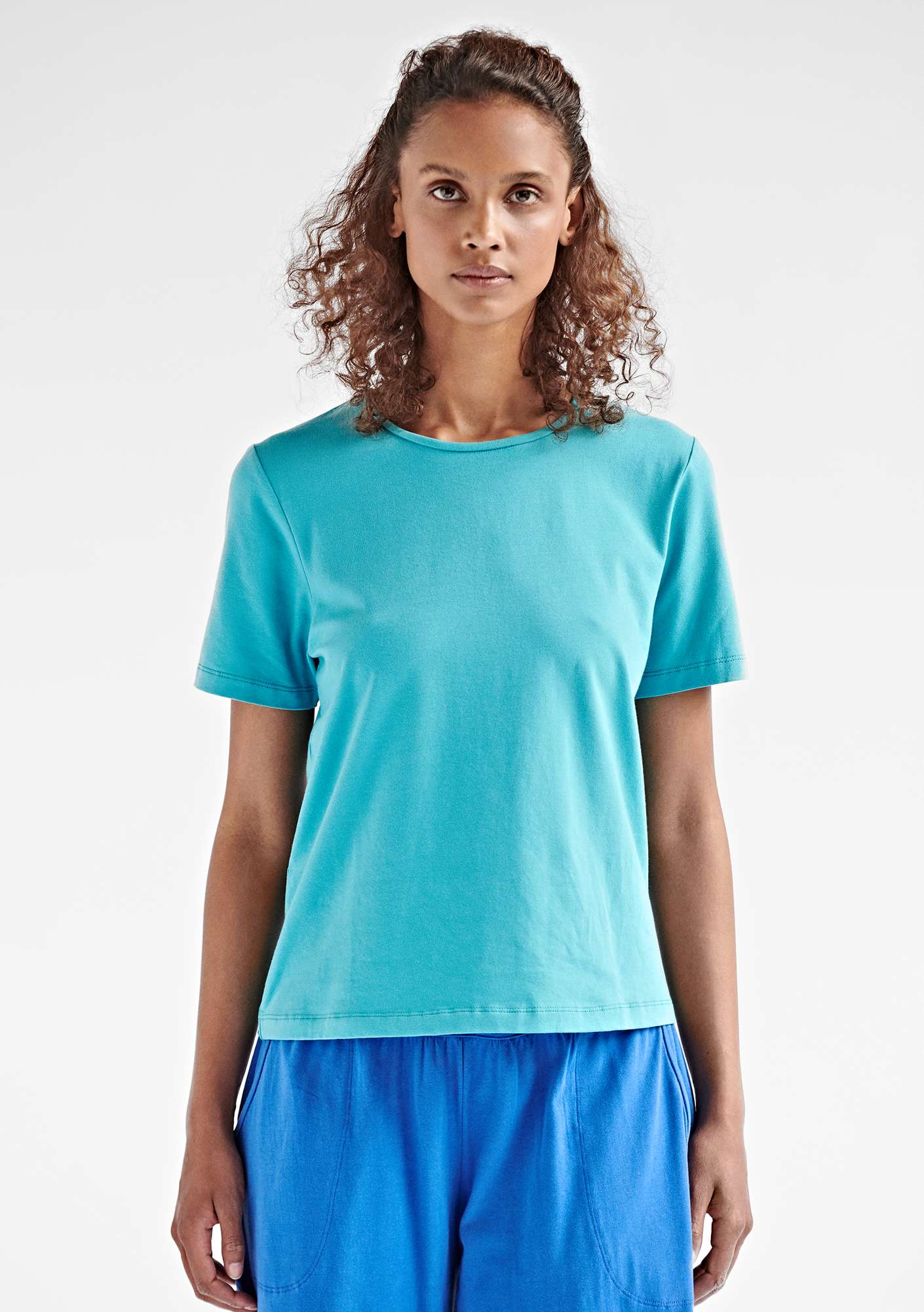 T-shirt in eco-cotton/elastane turquoise