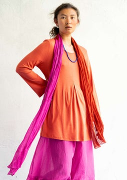 Silk blend tunic burnt orange