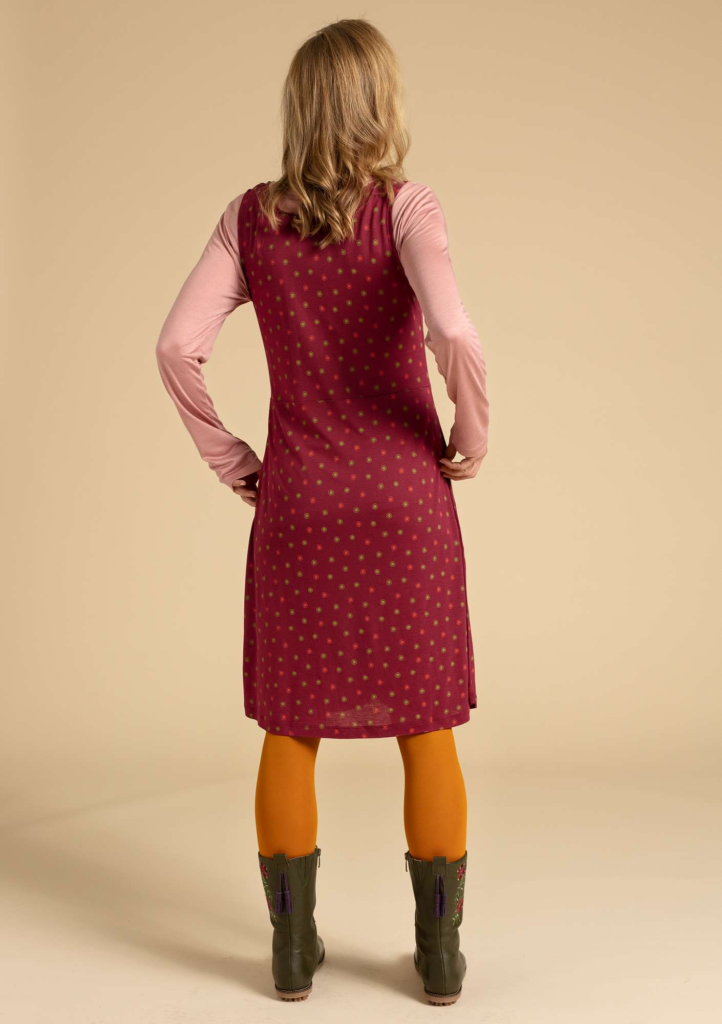 """Twinkle"" dress in modal pomegranate/patterned"