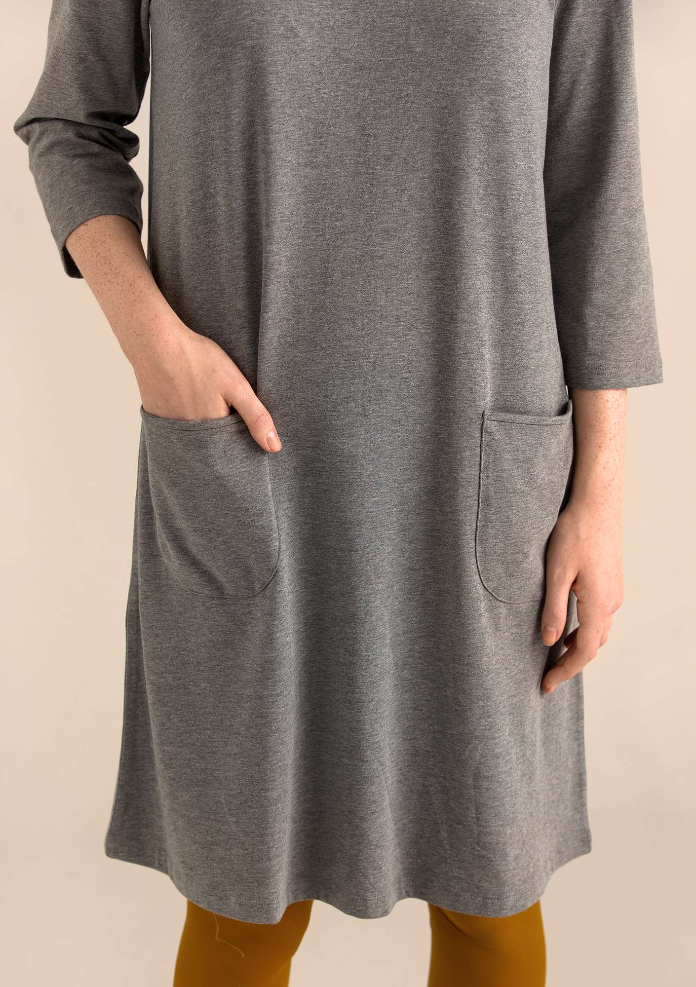 DOT dress in modal/organic cotton/elastane grey melange