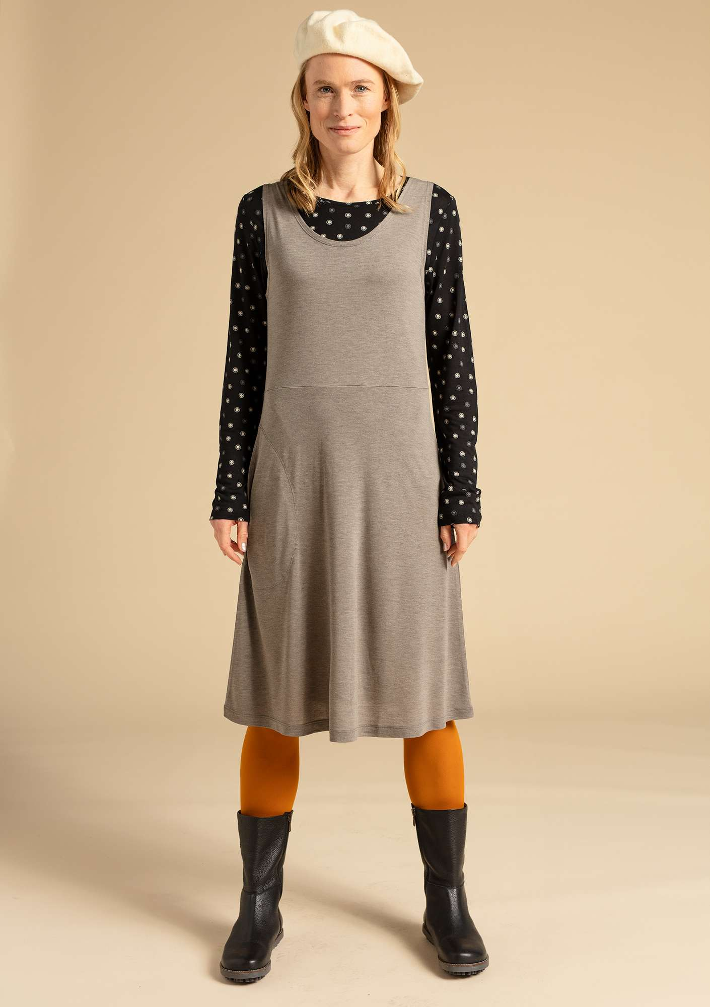 """Twinkle"" dress in modal natural grey melange"