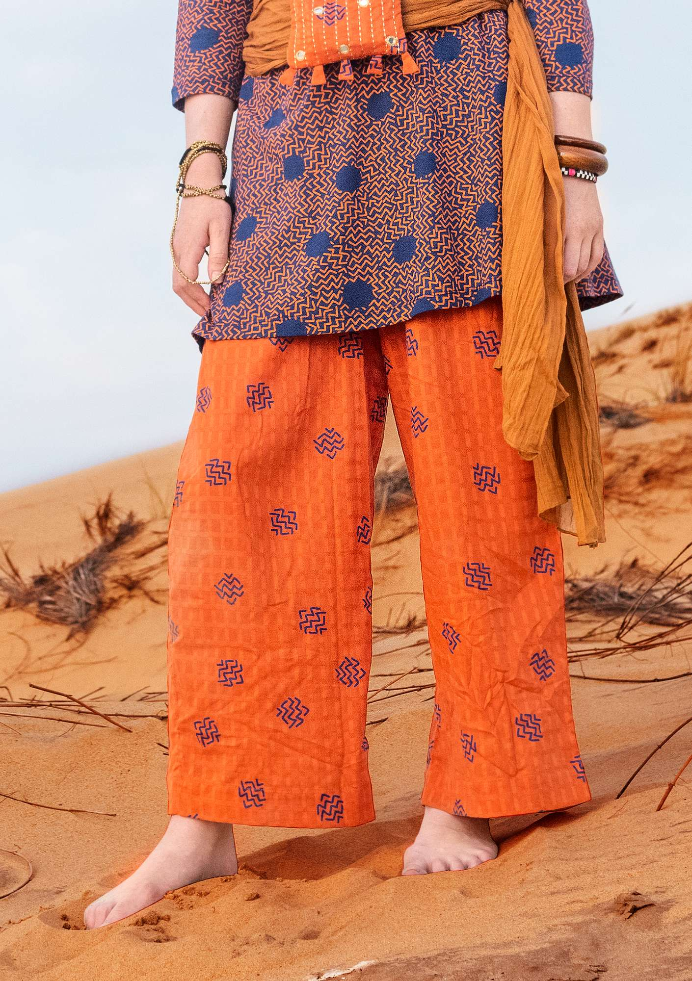 """Thar"" organic cotton trousers burnt orange"