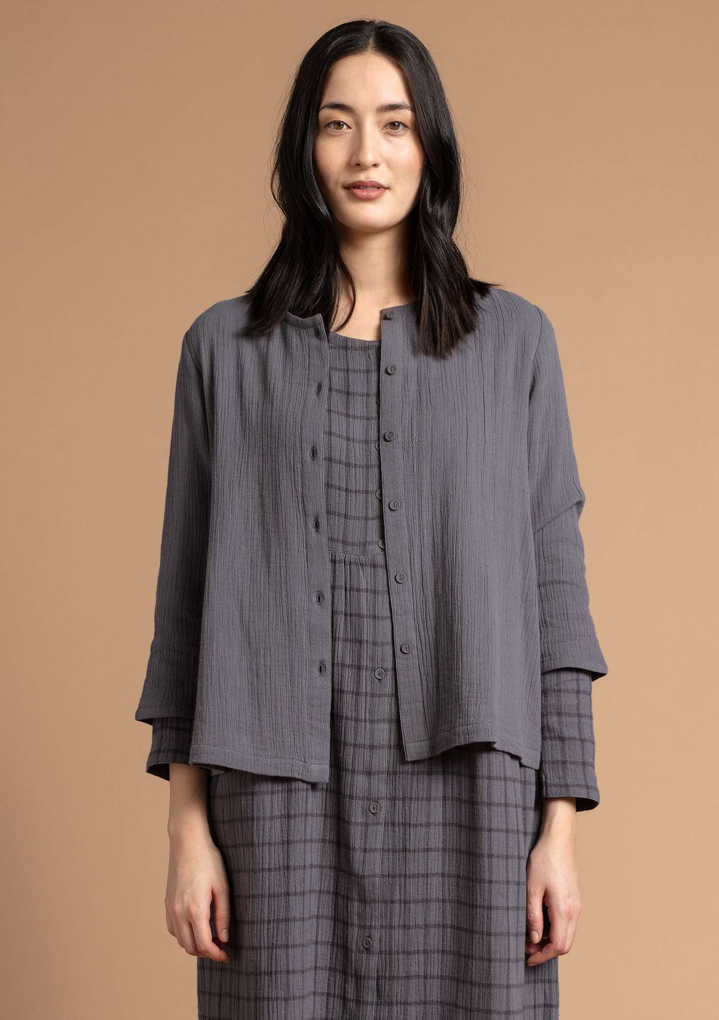 Blouse in organic cotton graphite