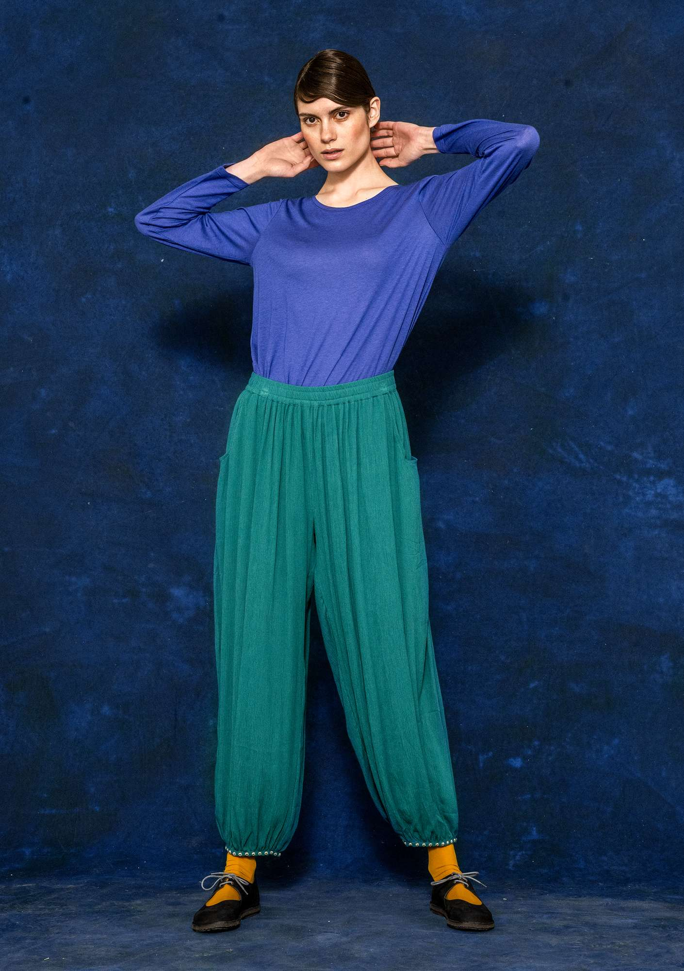 Pantalon bouffant peacock green