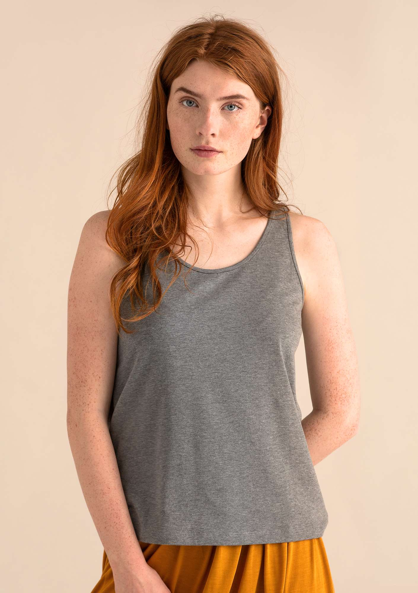 VIGG tank top in modal/organic cotton/elastane grey melange