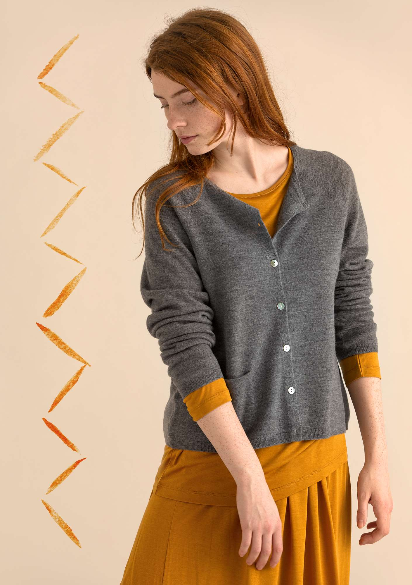 Brilliant cardigan in organic wool gray melange