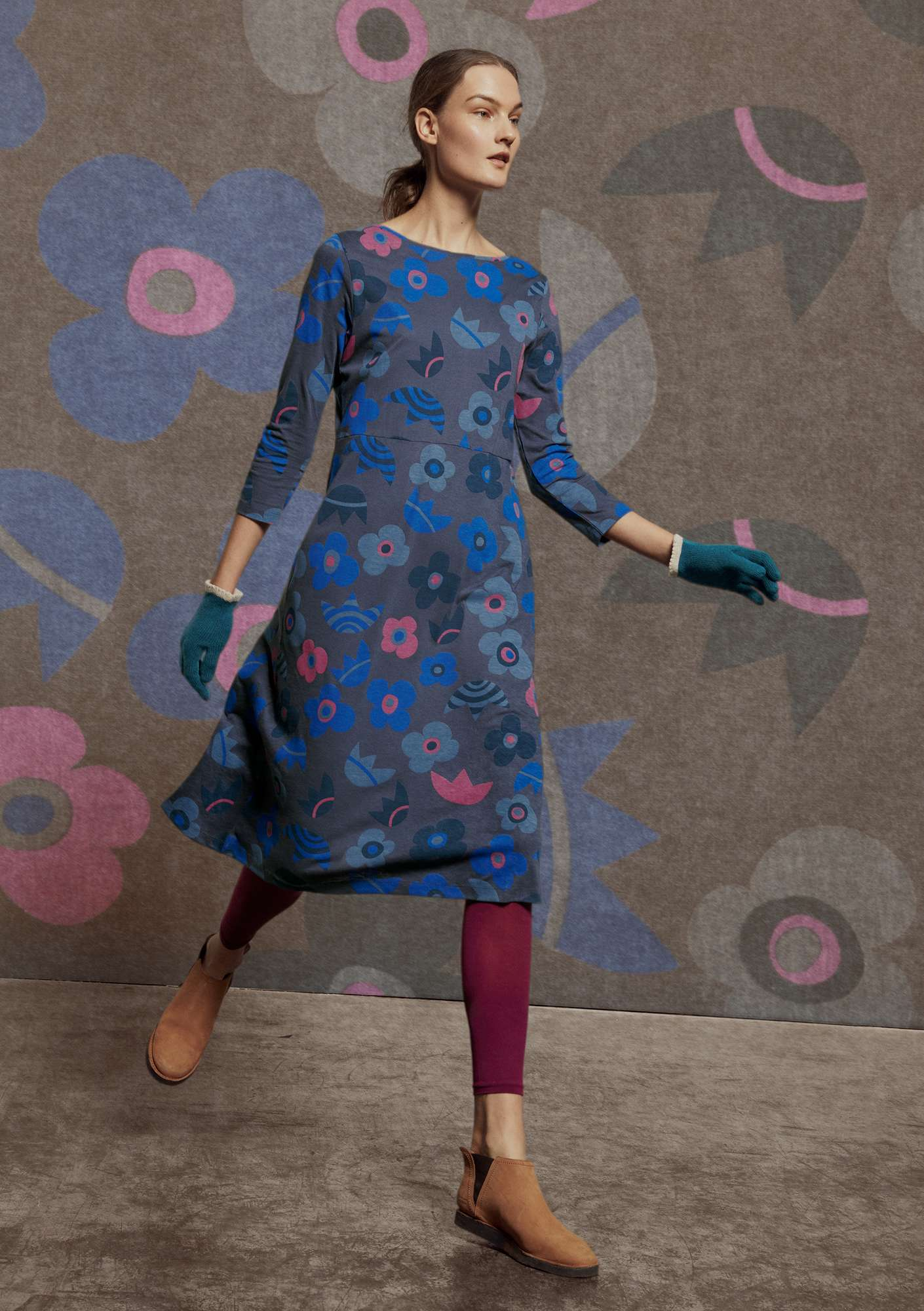 """Blomster"" dress in organic cotton/modal storm blue"