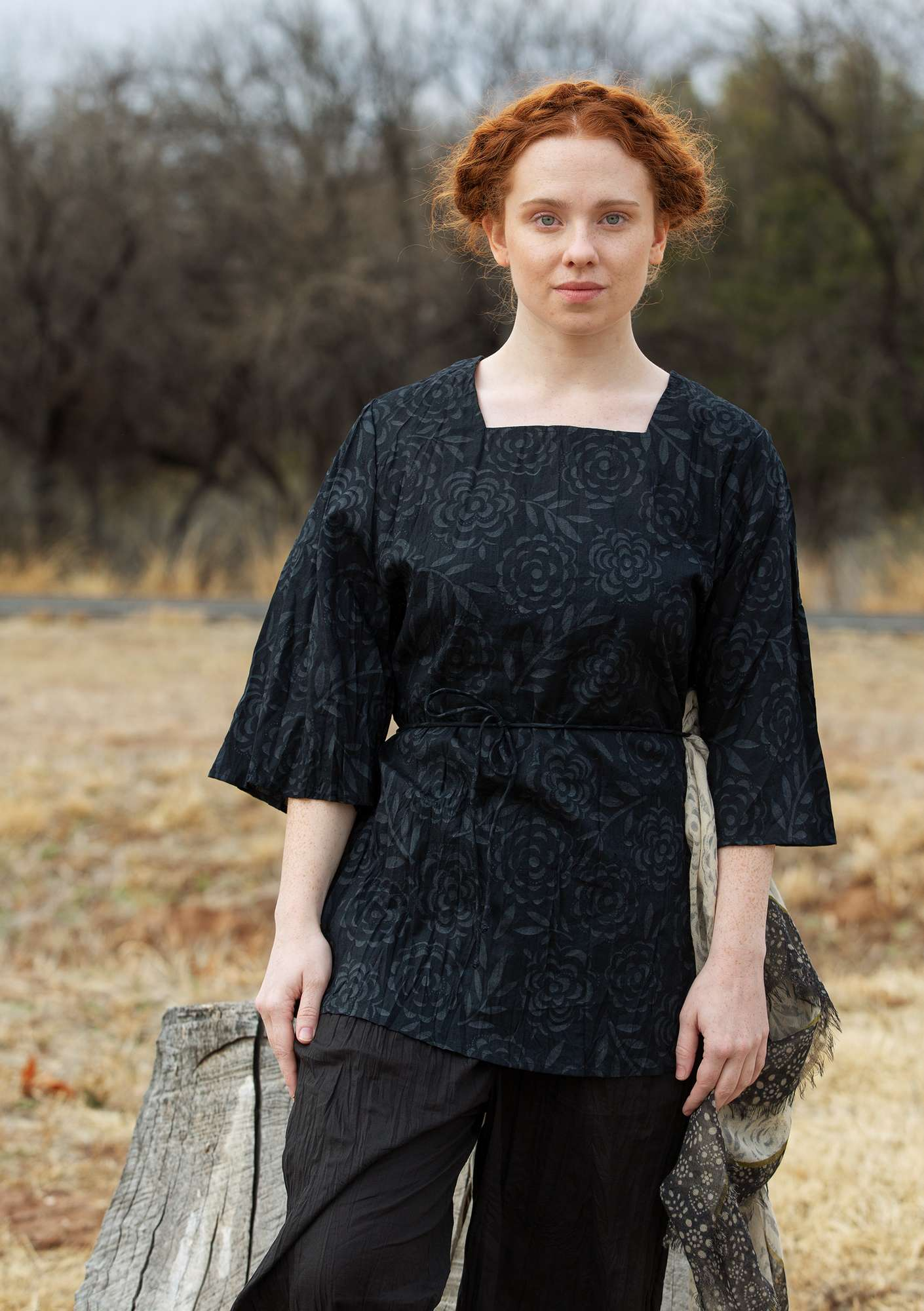 """Minnesota"" tunic in eco-cotton black"