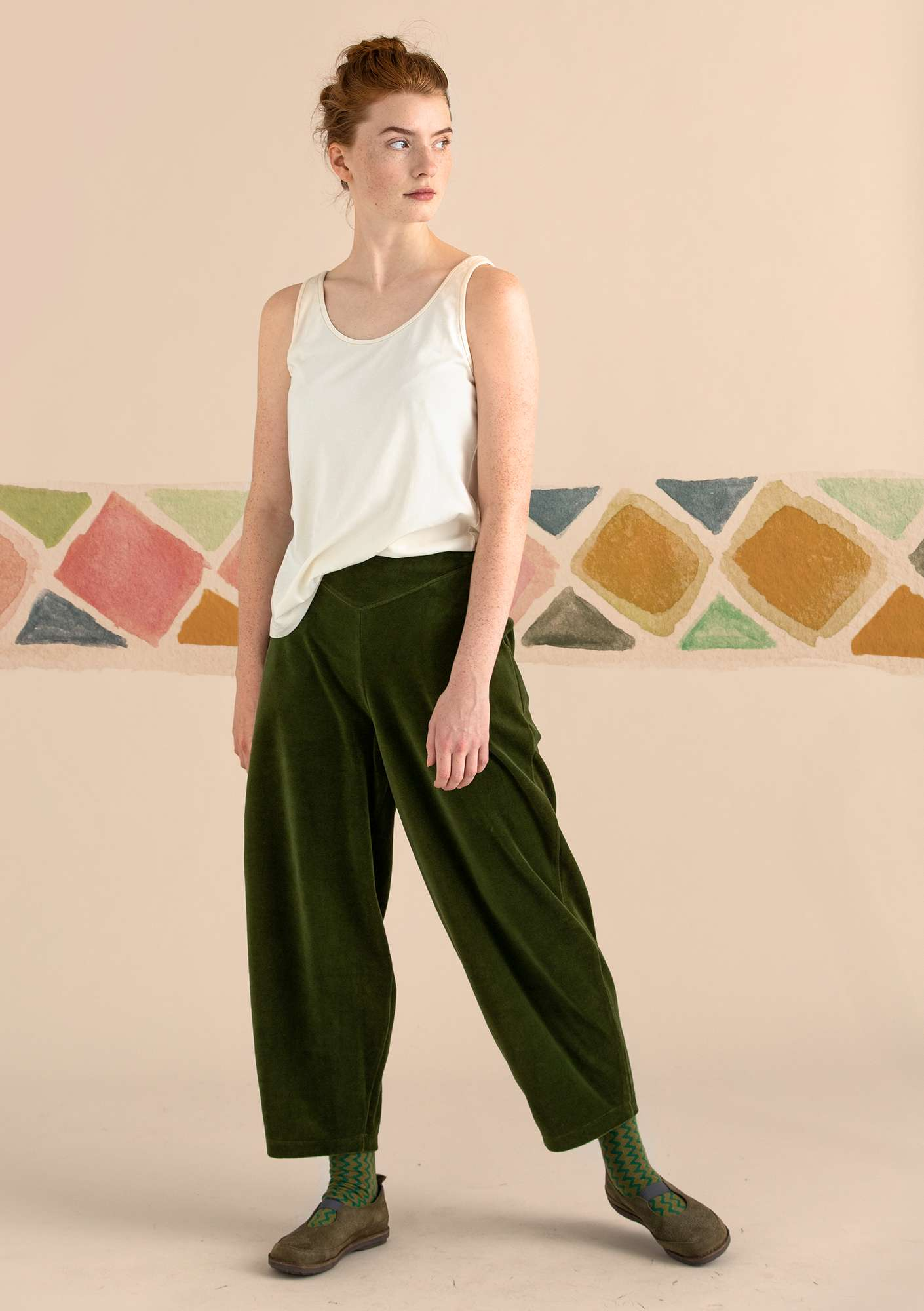 Velour pants in organic cotton/polyester pine