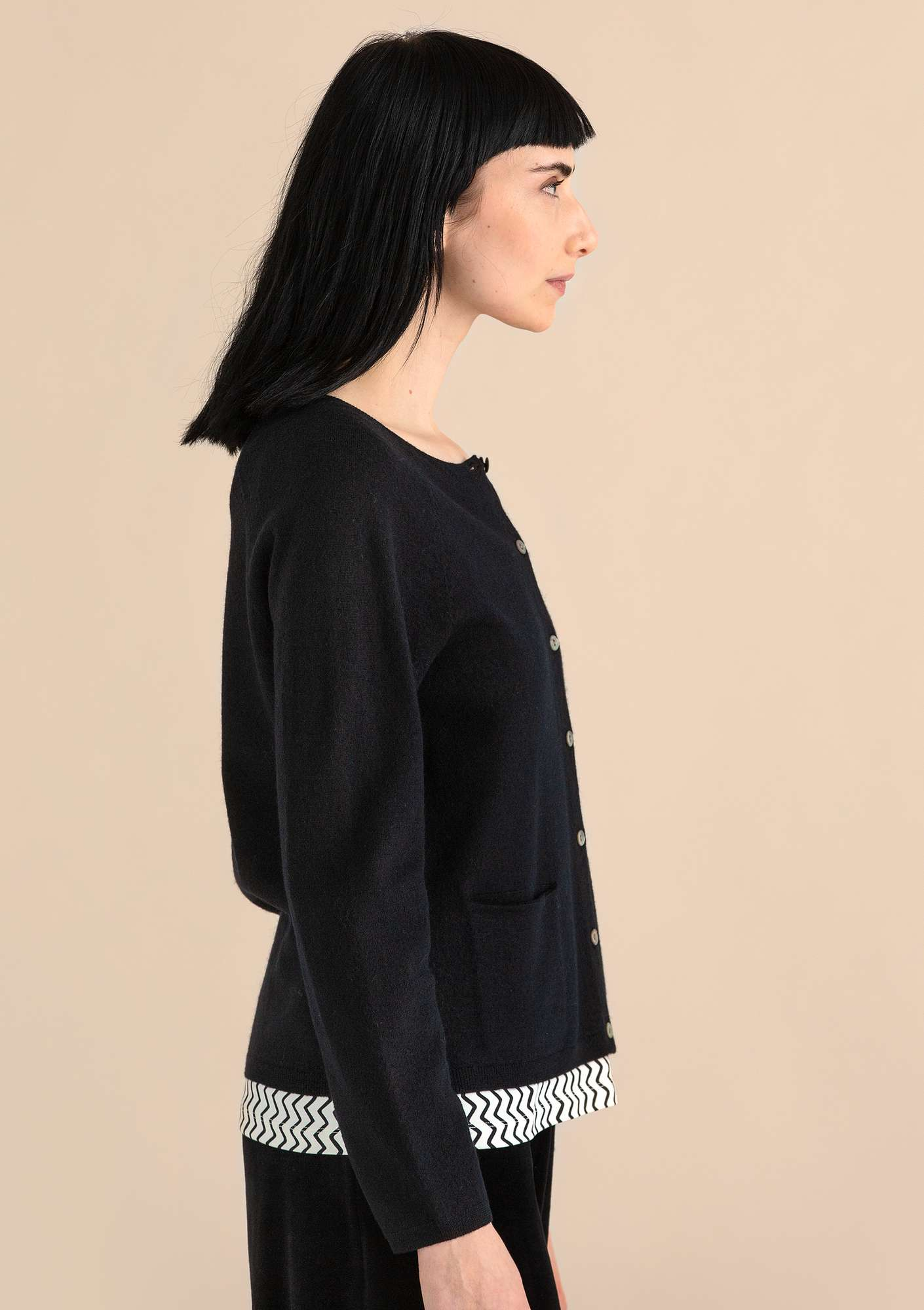 A crafty cardigan in organic wool black