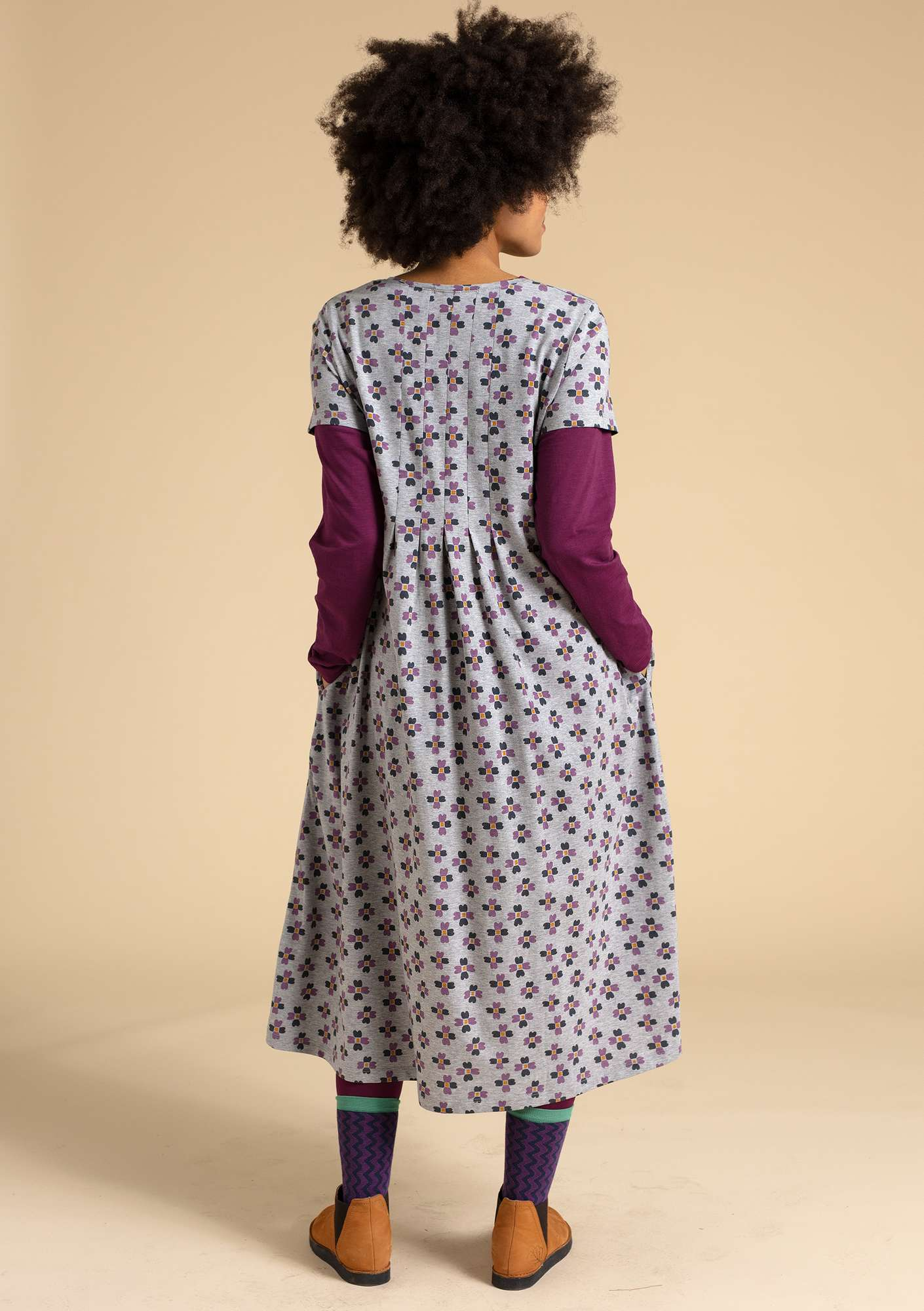 """Livia"" dress in eco-cotton light gray melange/patterned"