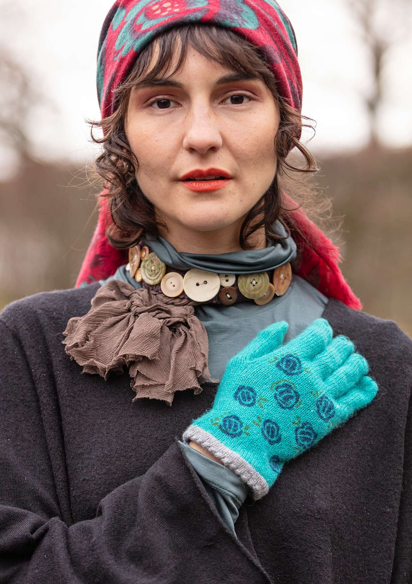 Knitted Linros gloves aqua green/patterned