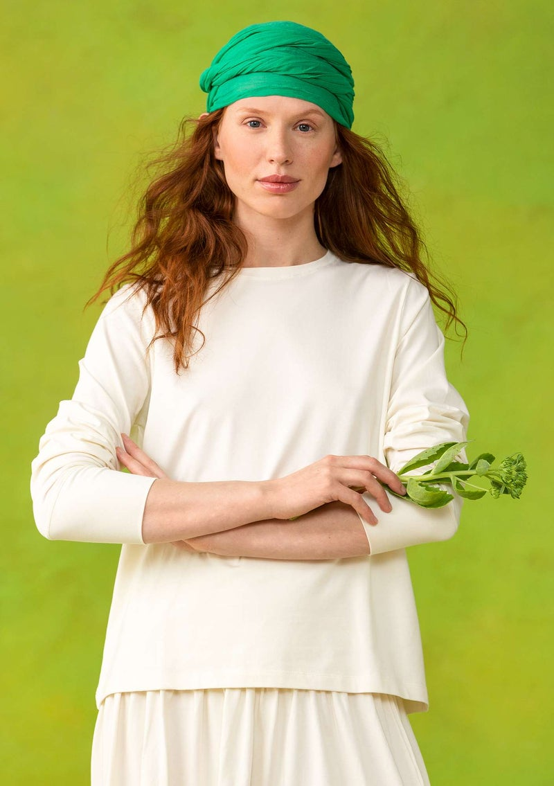 Long-sleeve top in organic cotton/spandex unbleached