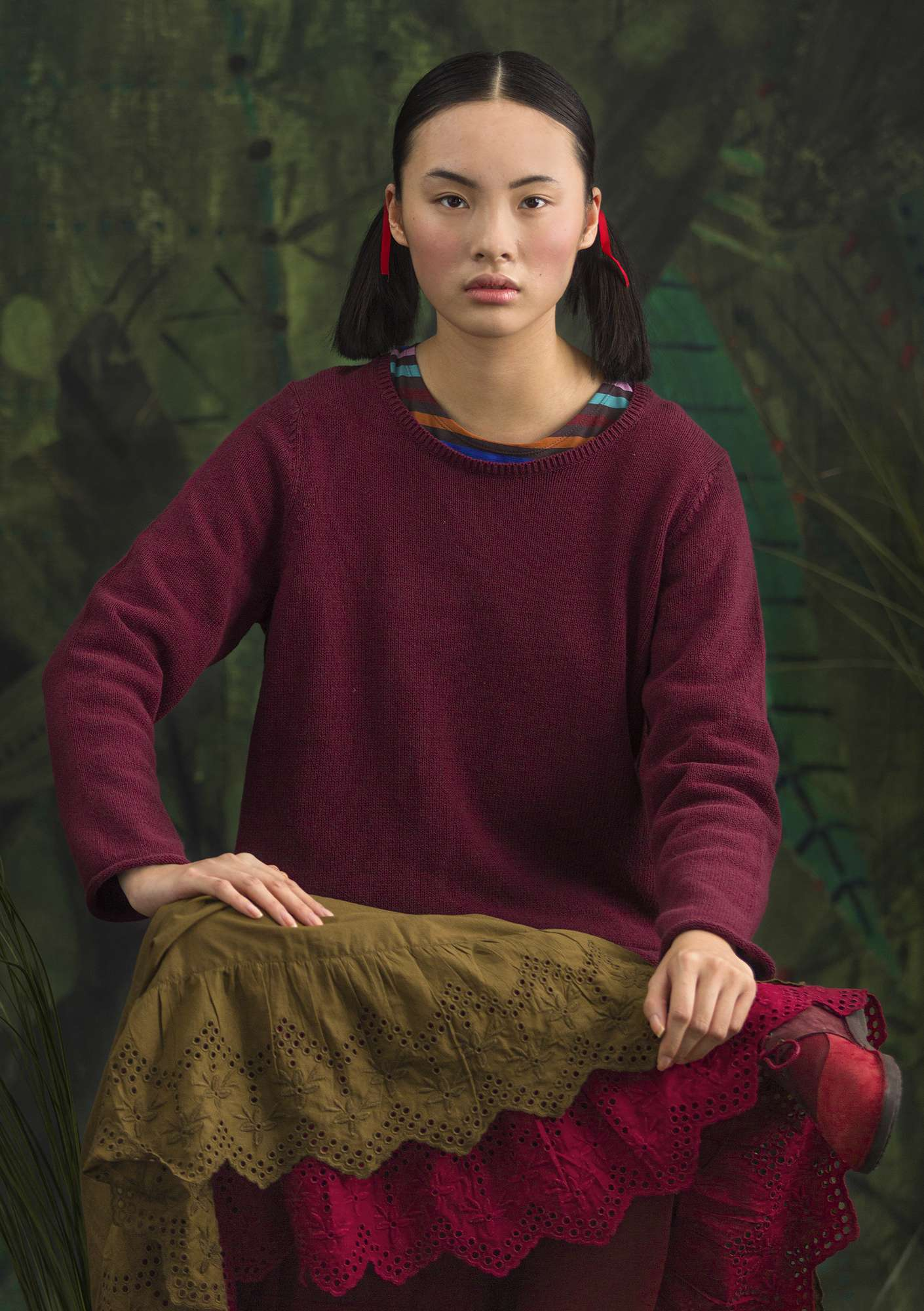 "FAVOURITE sweater ""Belle"" made of recycled cotton burgundy/solid colour"