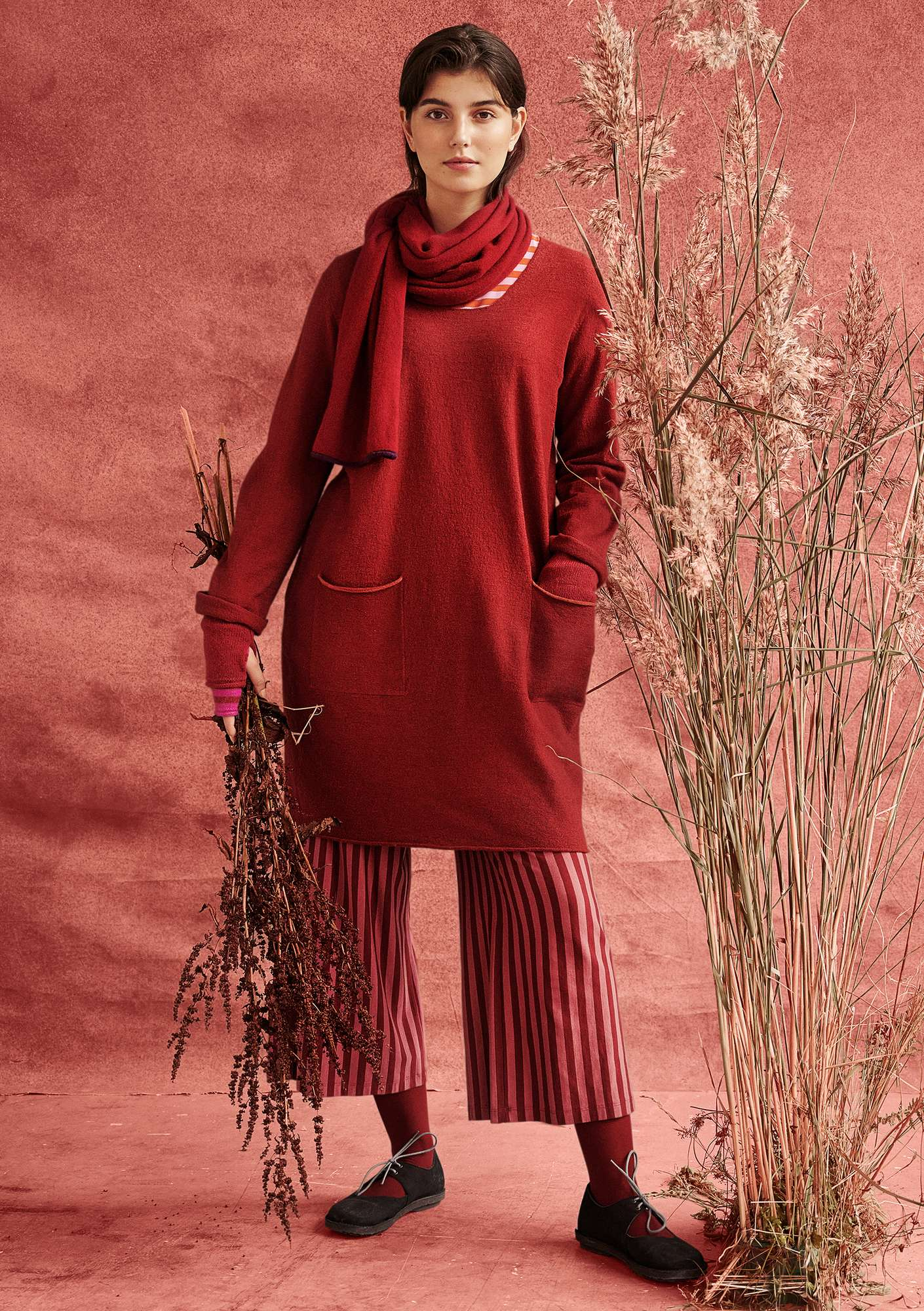 Felted wool tunic agate red