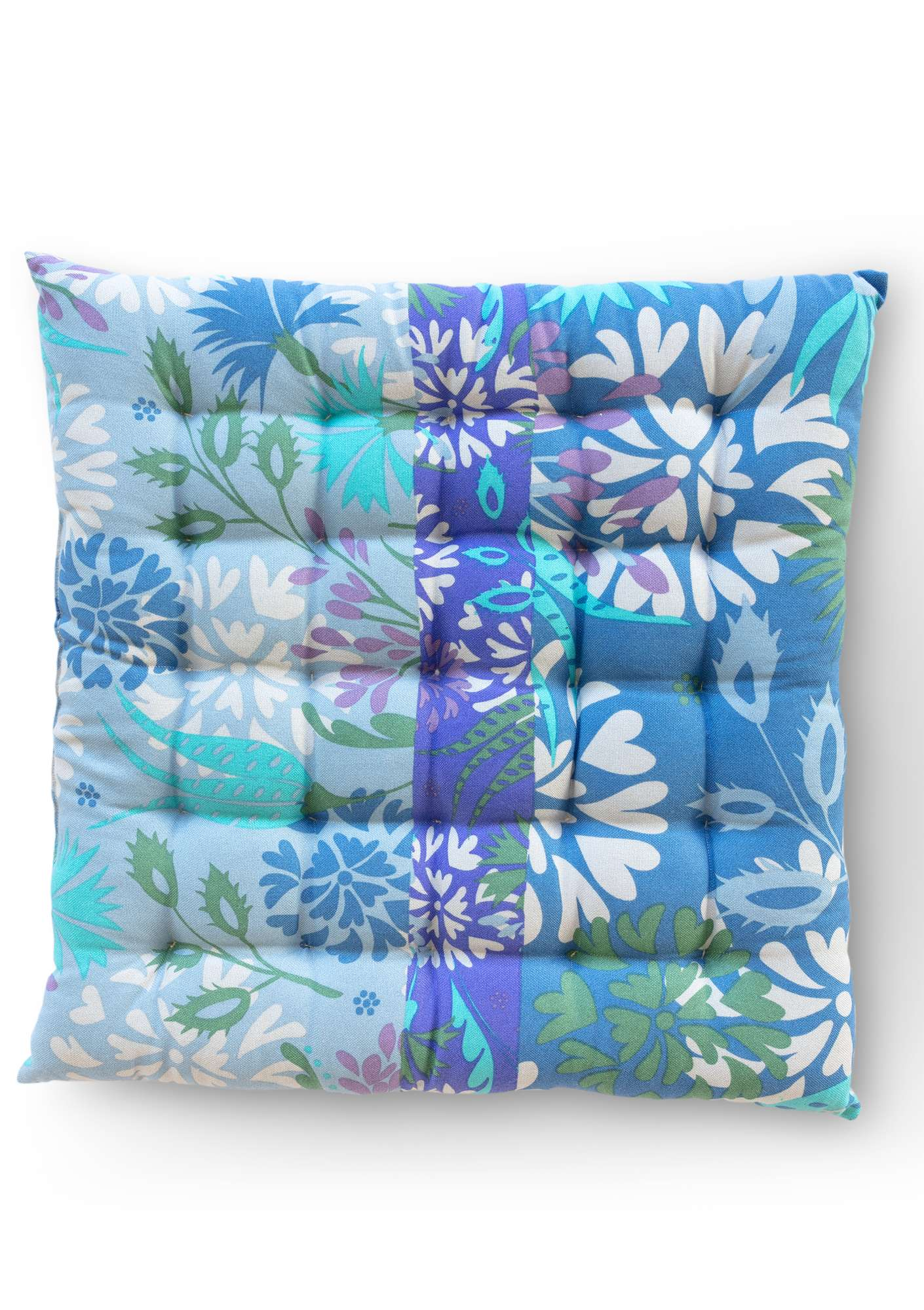 """Fiesta"" seat cushion in eco-cotton medium blue"