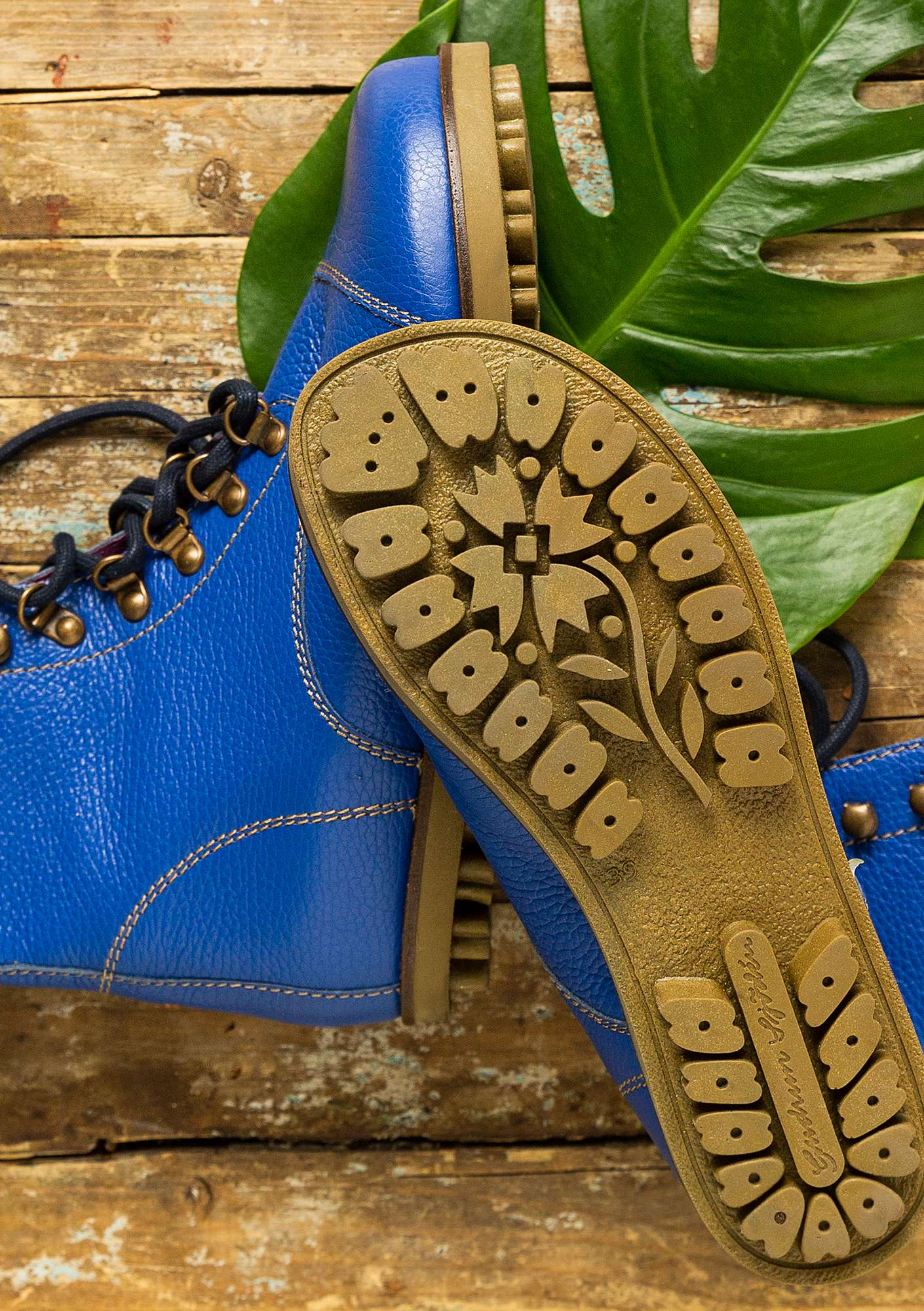 Bottines en nappa bleu porcelaine