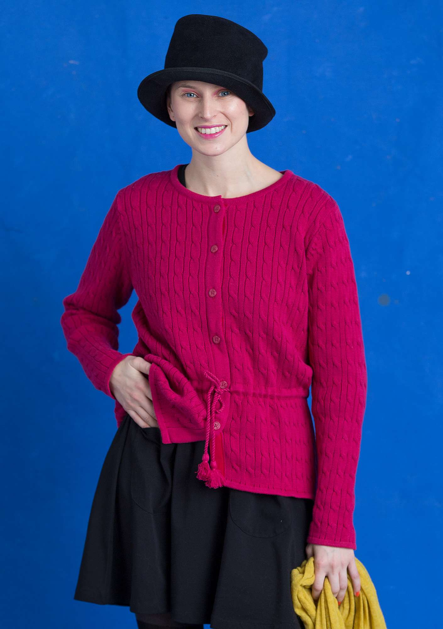 Cable-knit cardigan in eco-cotton cyclamen