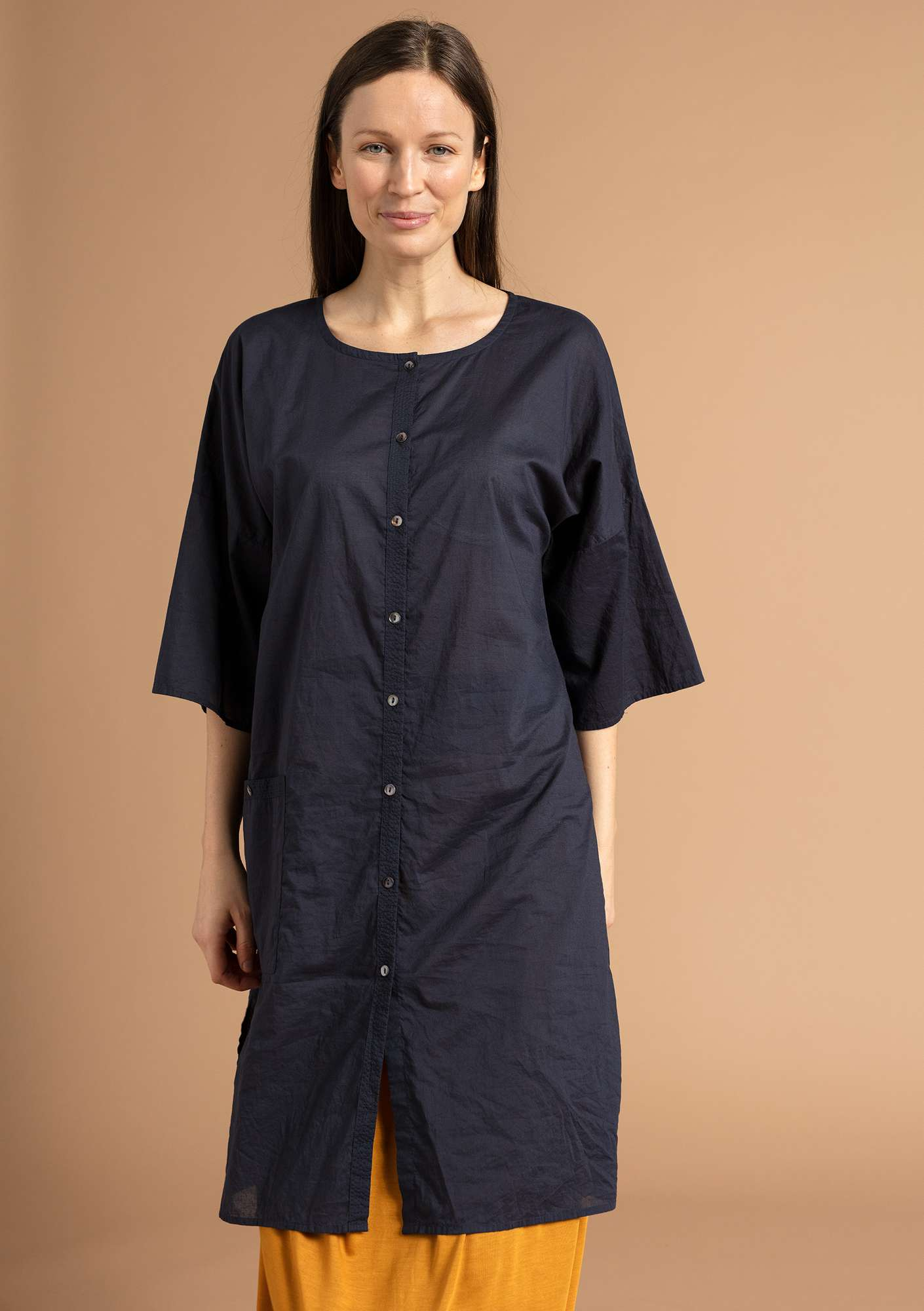 """Rigmor"" dress in eco-cotton ink blue"