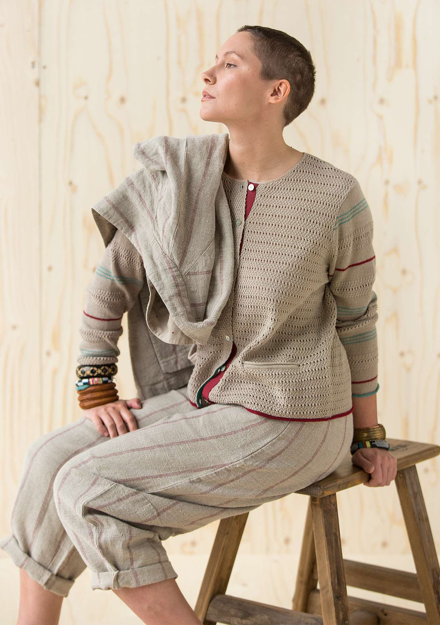 Pointelle cardigan in ramie dark nature