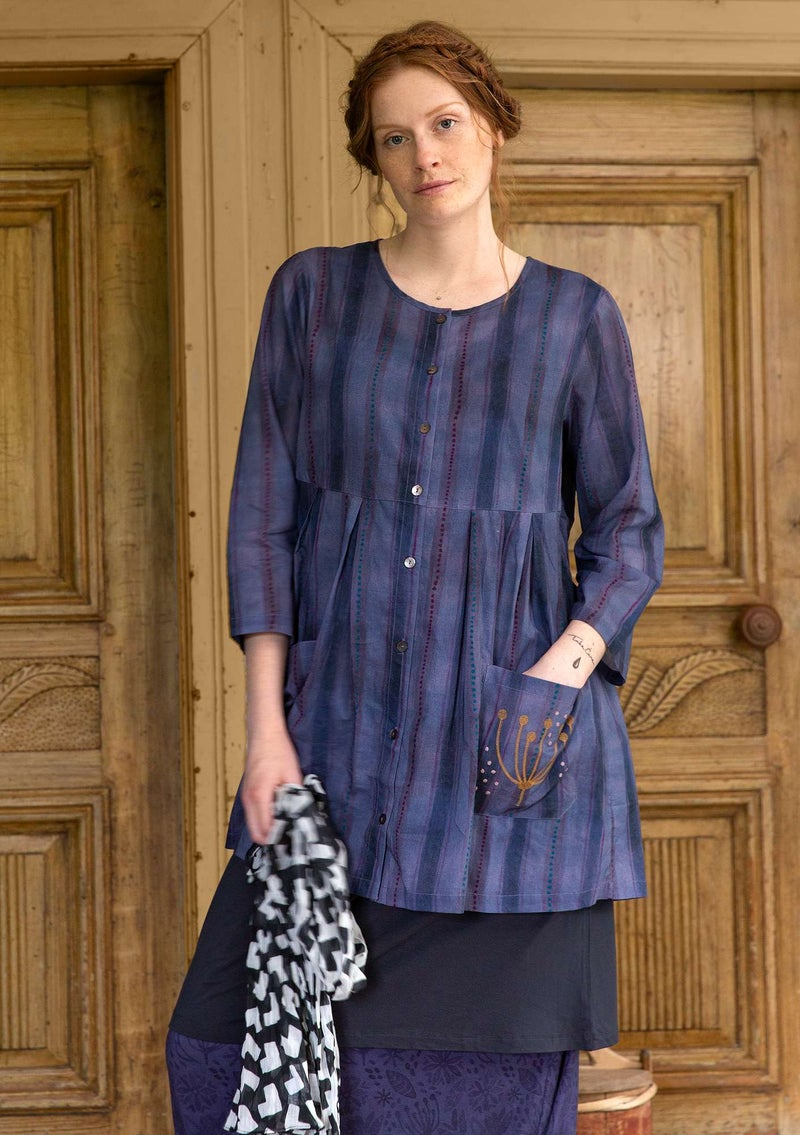 """Lavera"" organic cotton artist's blouse muted violet"