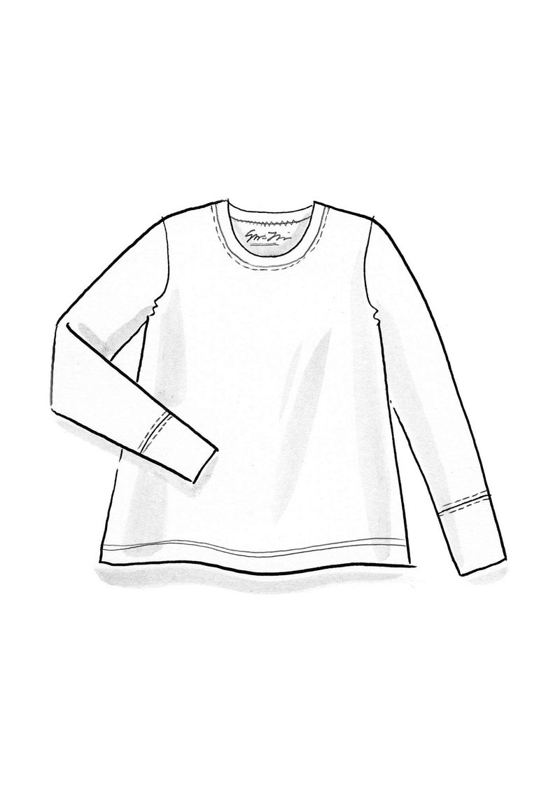 Long-sleeve top in organic cotton/spandex black