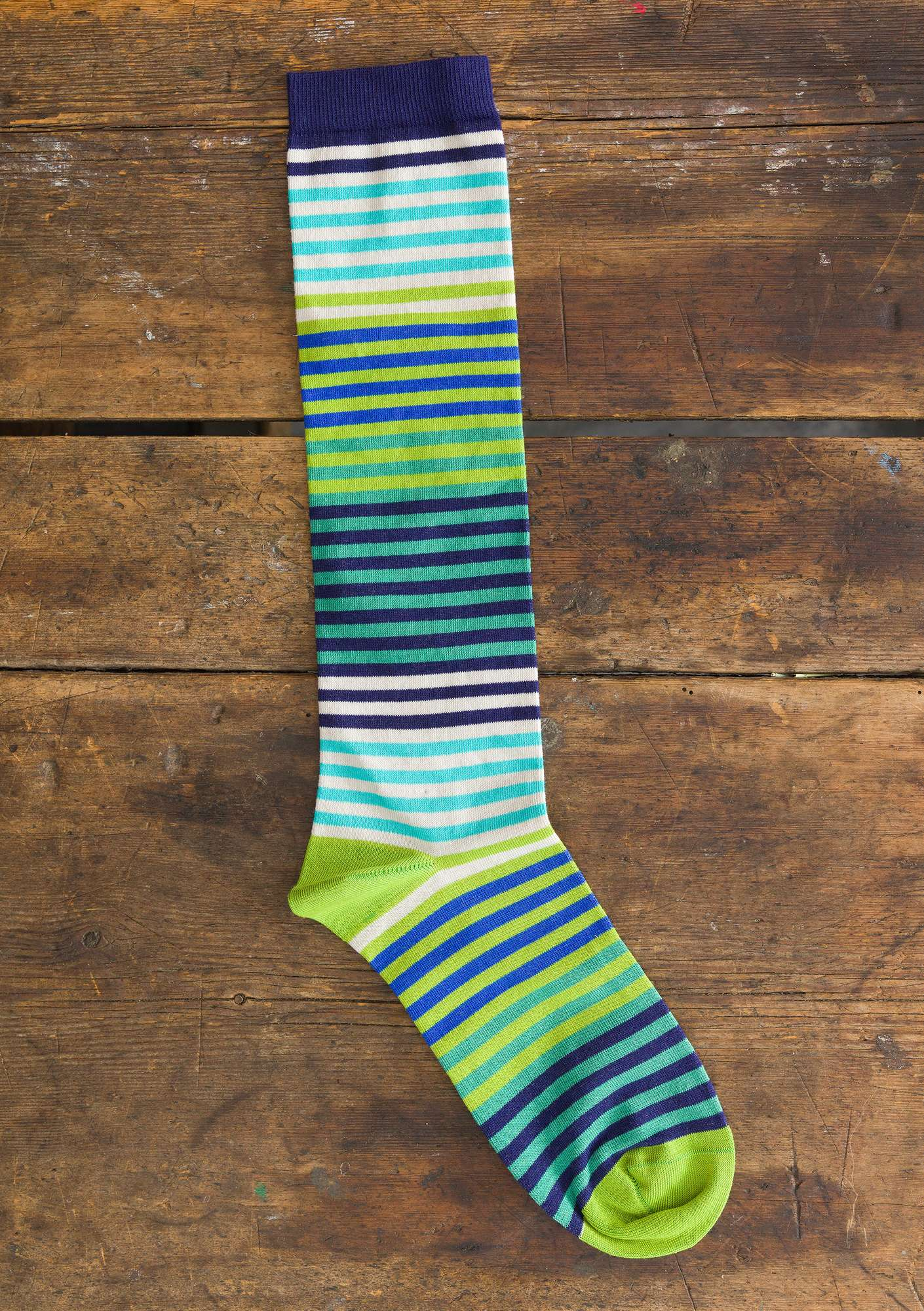 Striped organic cotton knee-highs cicada