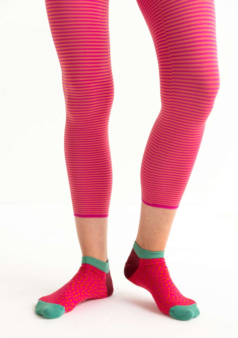 Striped leggings in recycled polyamide hibiscus/rowan