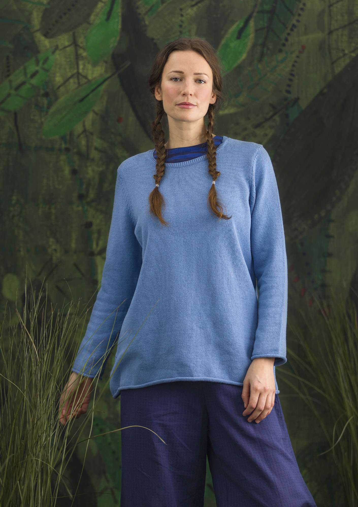 "FAVOURITE sweater ""Belle"" made of recycled cotton sea blue/solid colour"