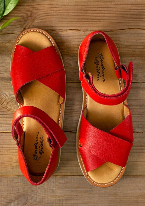 Sandaler i nappa bright red