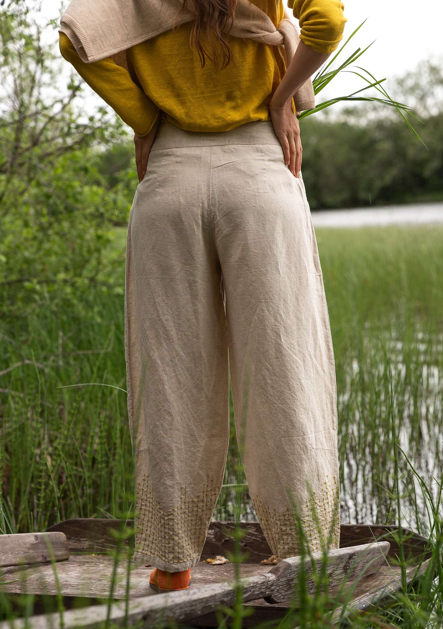 """Mineral"" trousers in organic cotton/linen natural melange"
