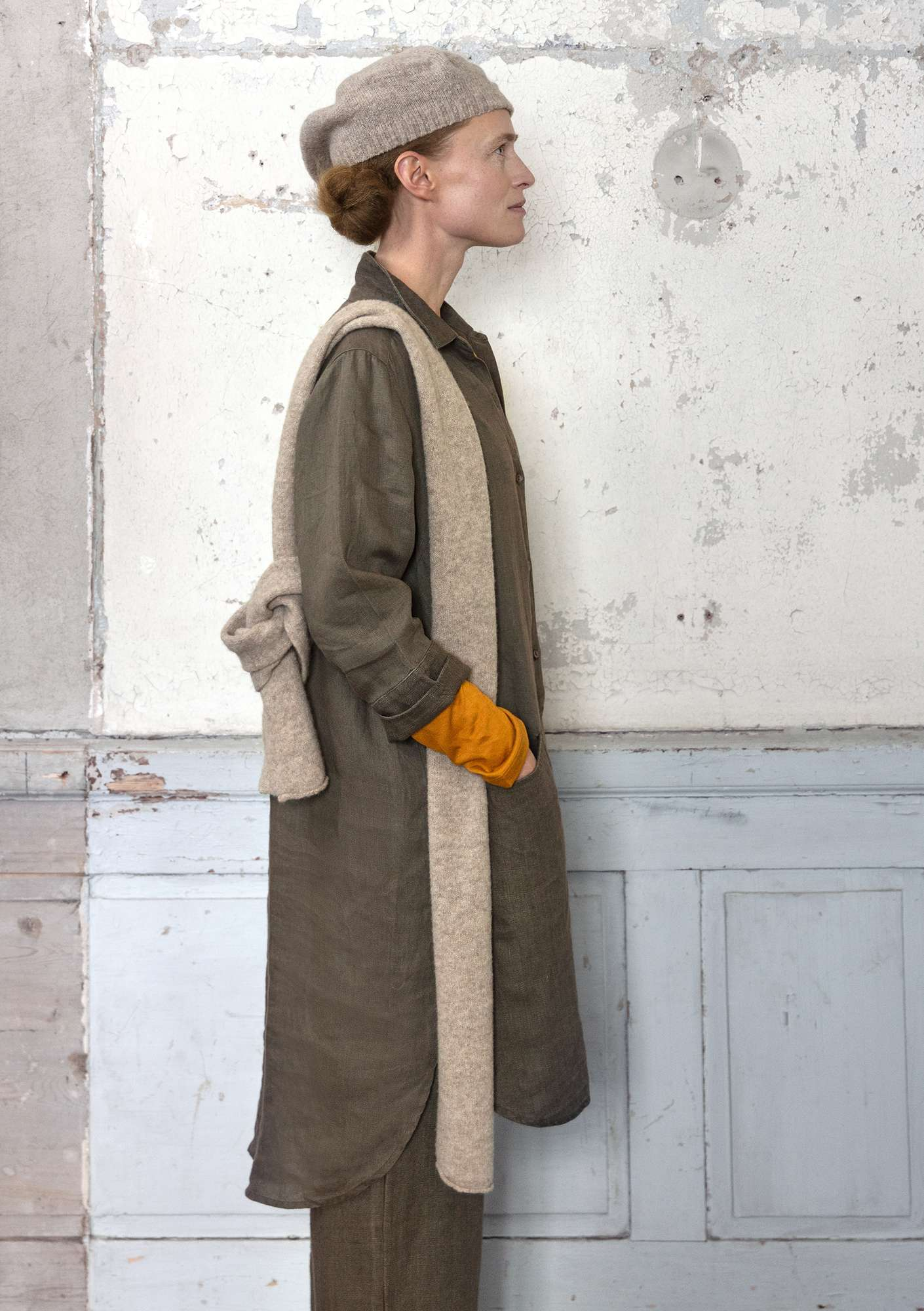 Linen long shirt clay