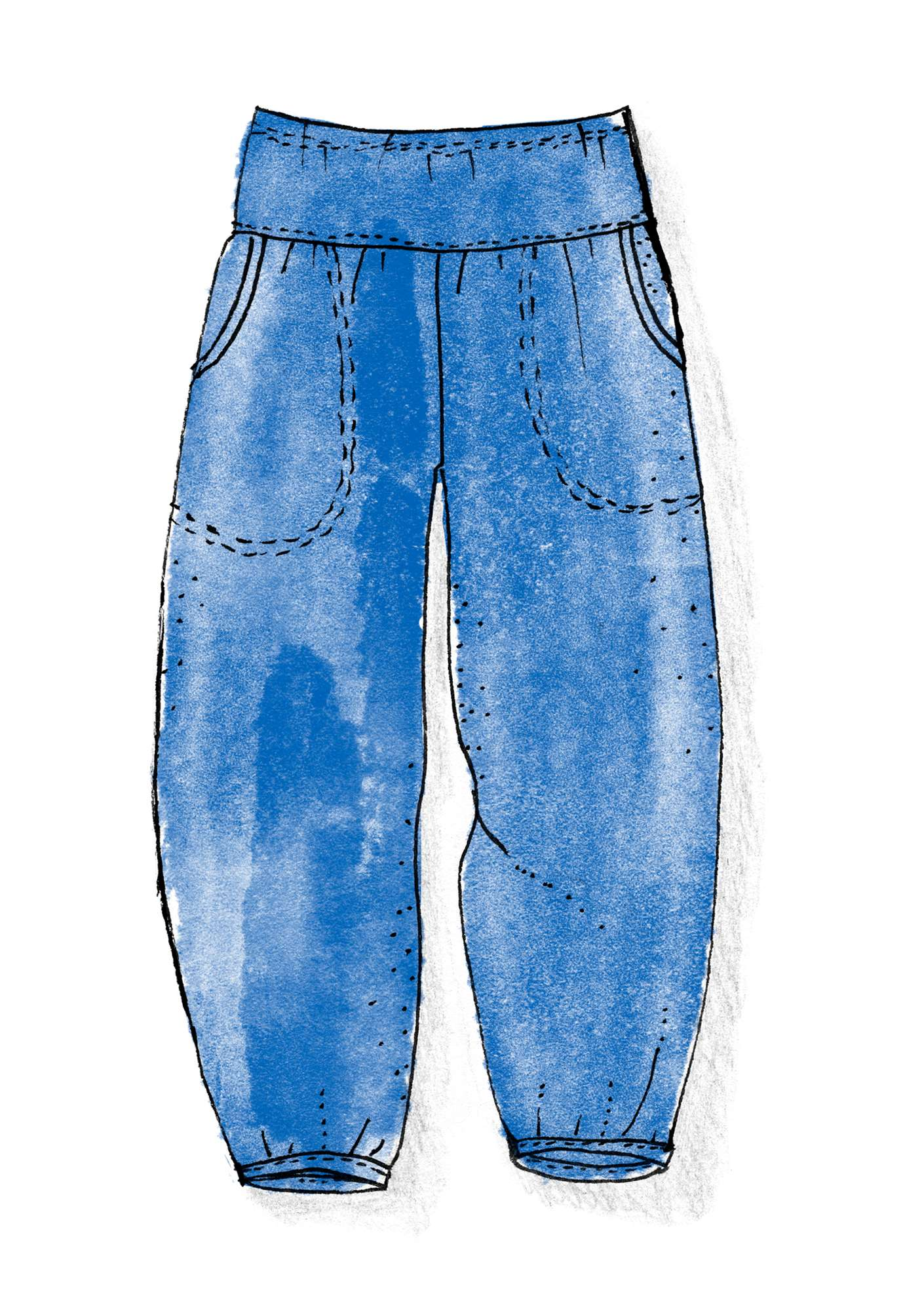 Trousers in organic cotton/elastane cornflower blue