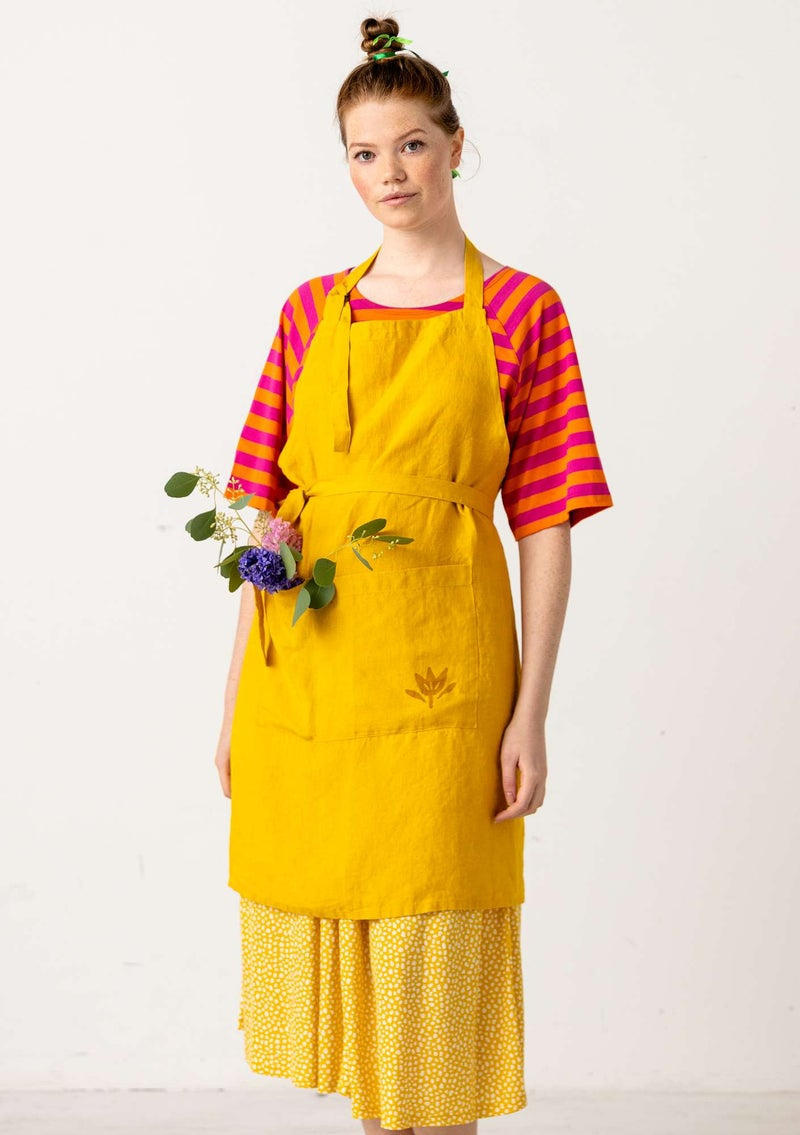 Washed linen apron sunflower