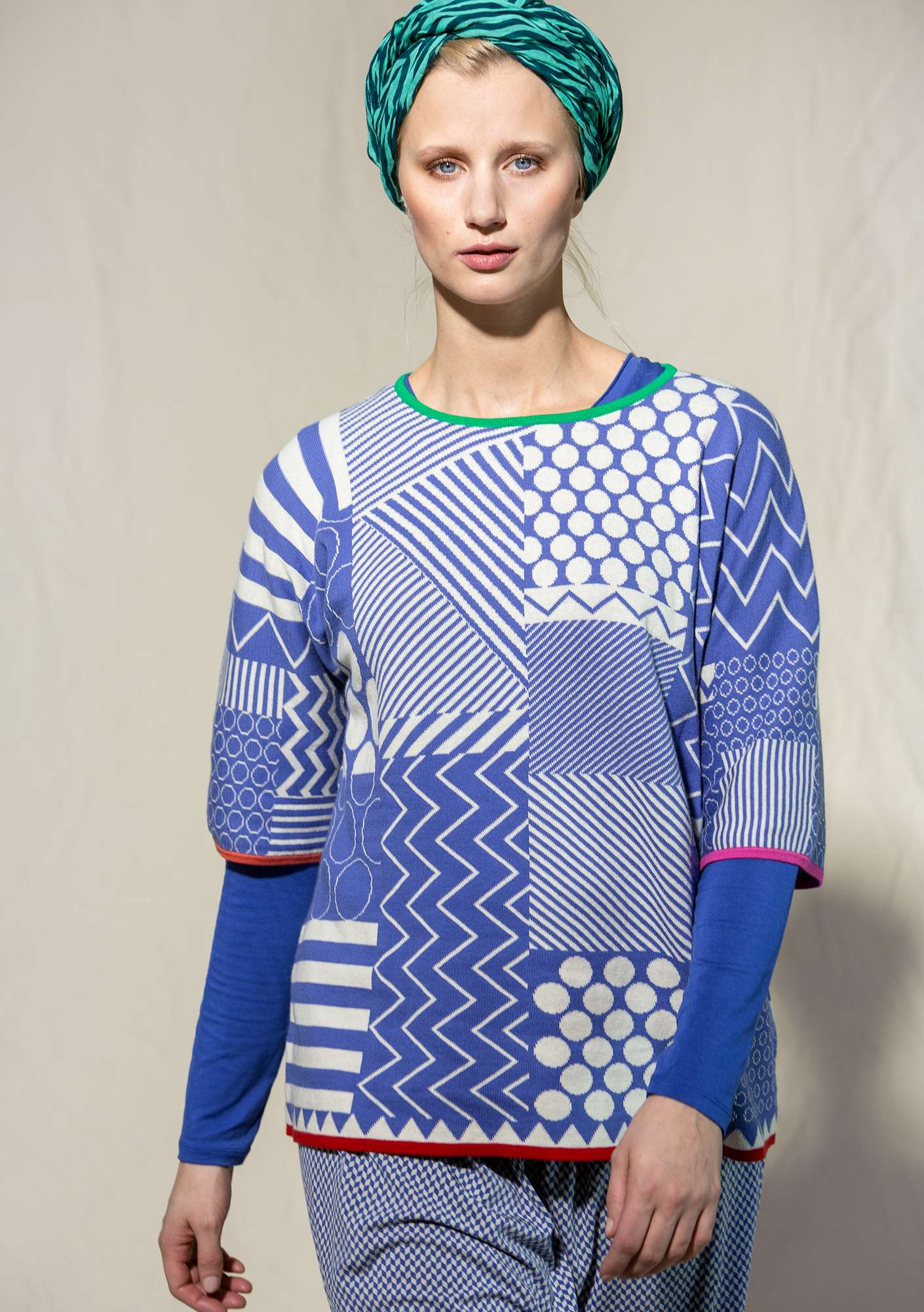 """Geometri"" organic cotton jacquard sweater sky blue"