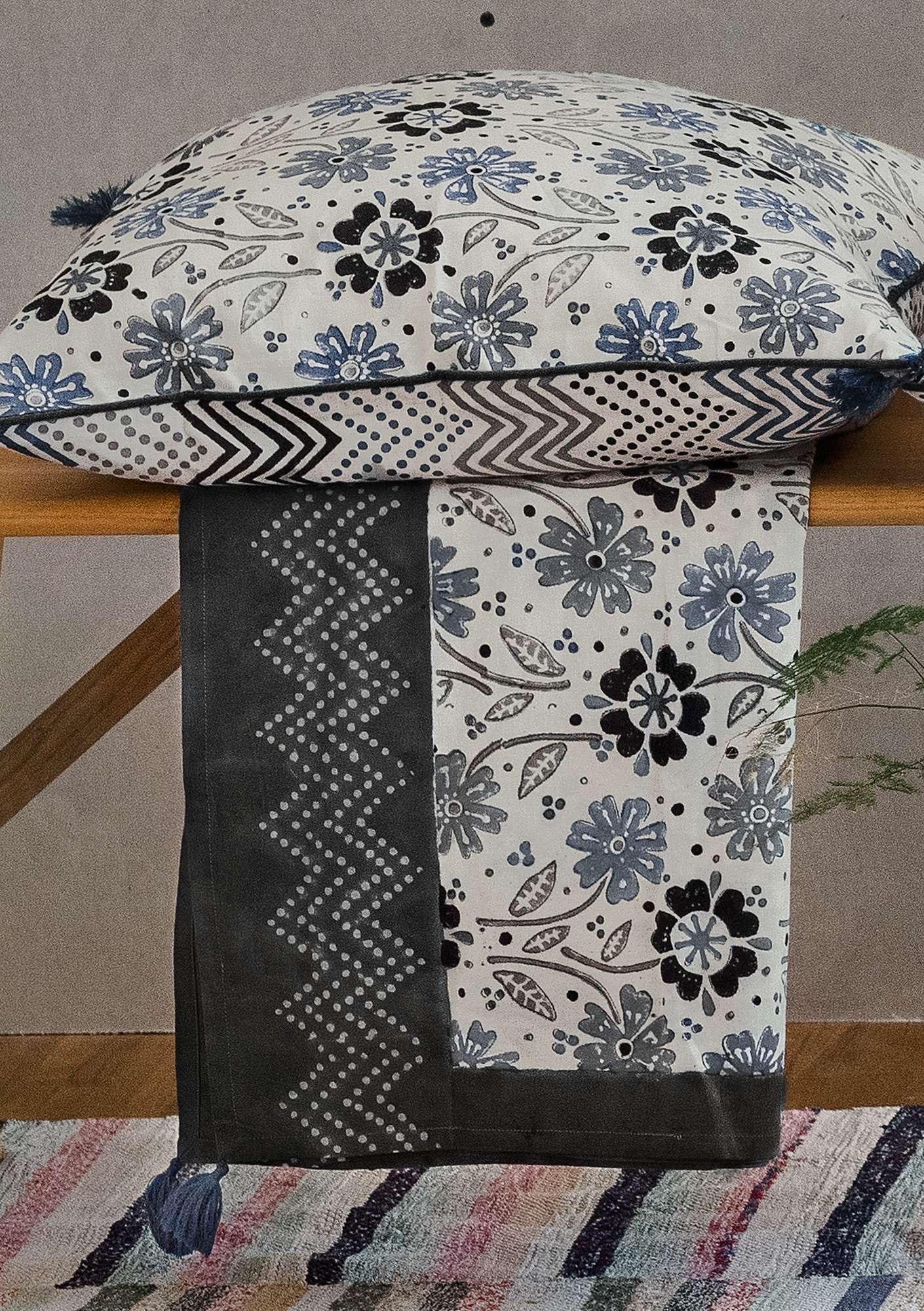 """Calendula"" block-printed eco-cotton fabric piece  dark ash gray"