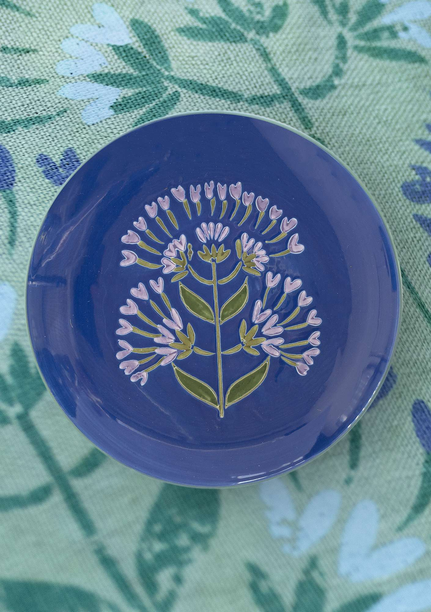 """Oregano"" ceramic plate cornflower"