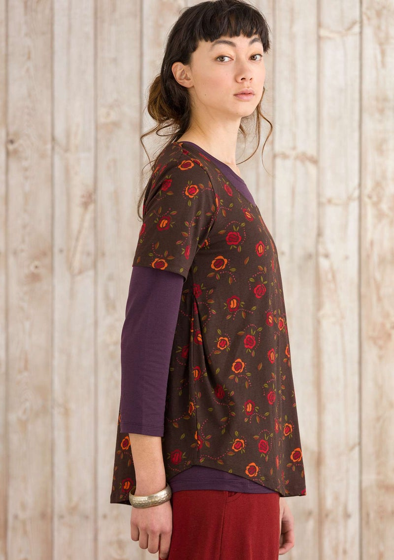 """Vanja"" top in organic cotton mulberry/patterned"