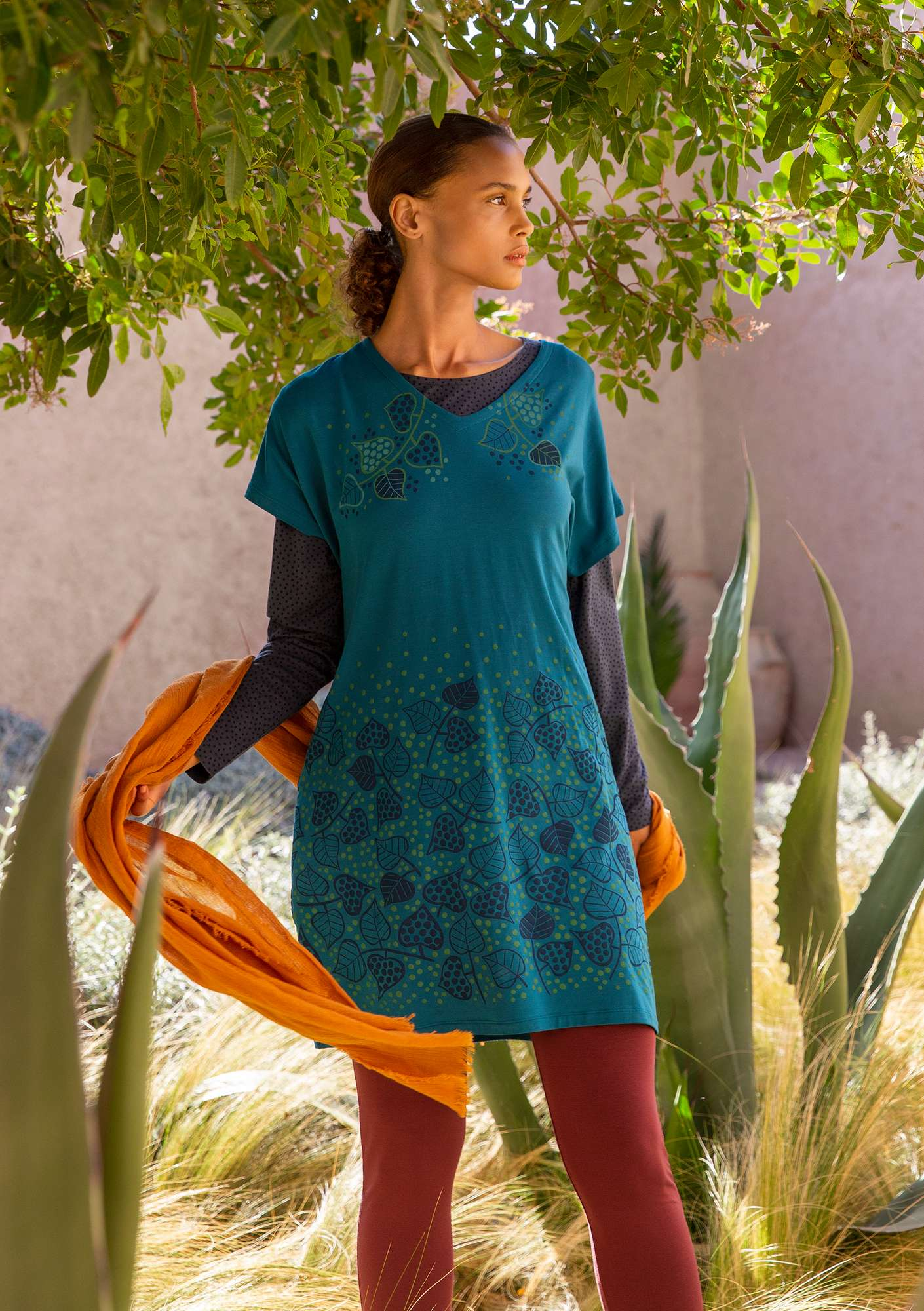 """Autumn"" tunic in lyocell/elastane petrol blue"