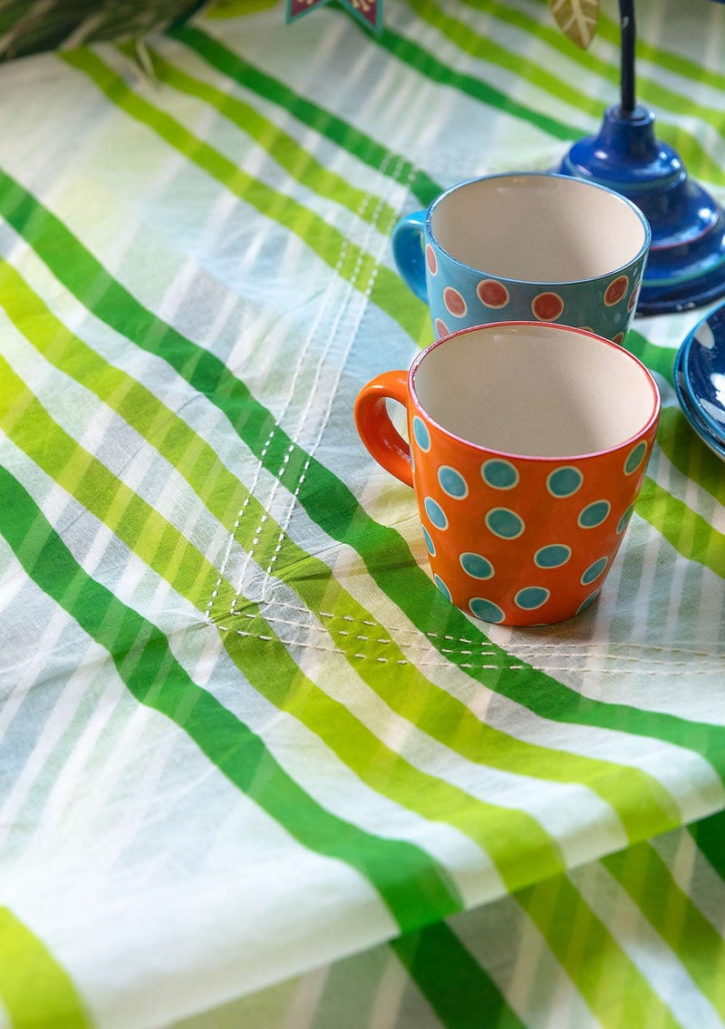 """Balans"" cotton organdie tablecloth tropical green"