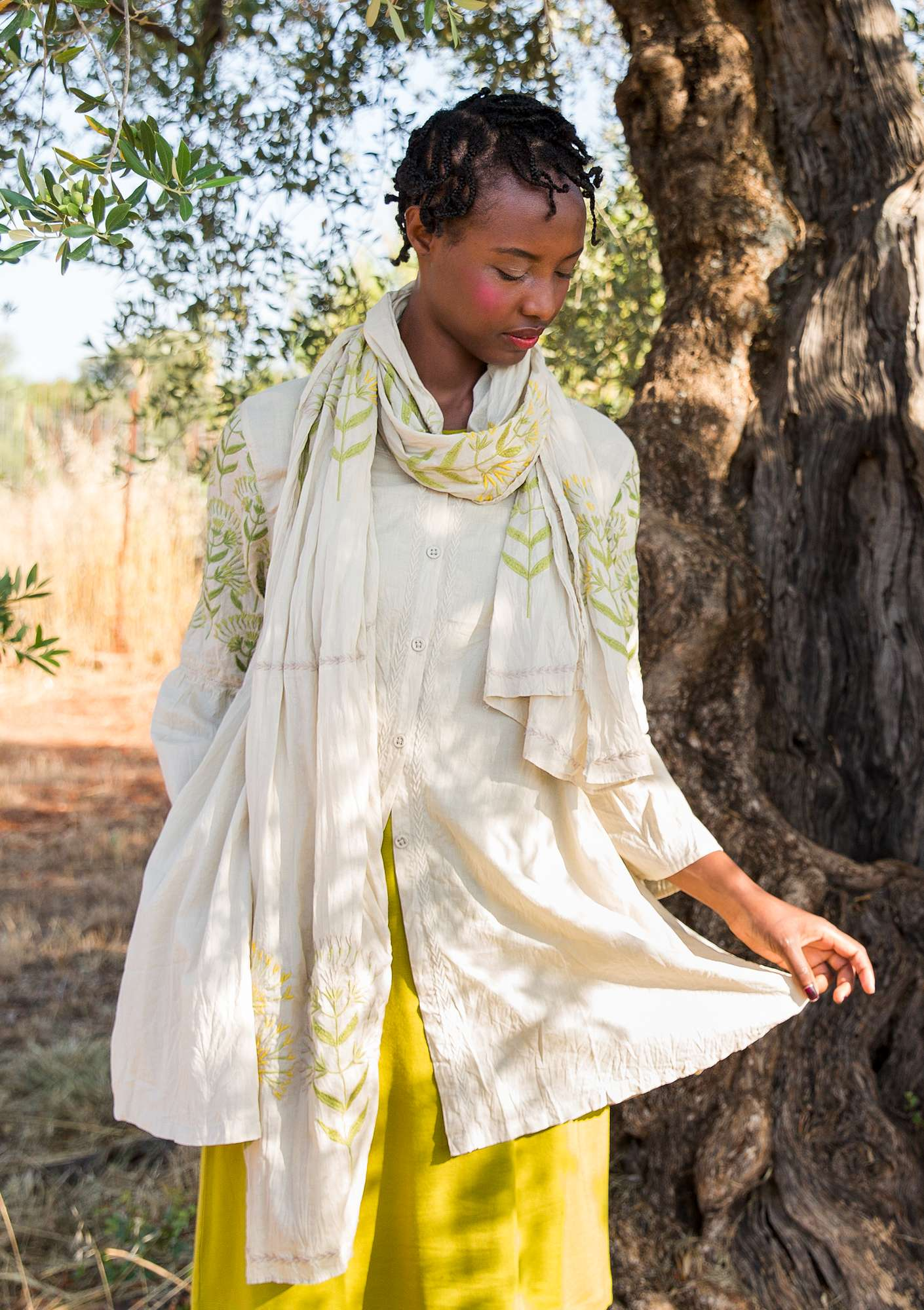 """Oregano"" tunic in organic cotton eggshell"