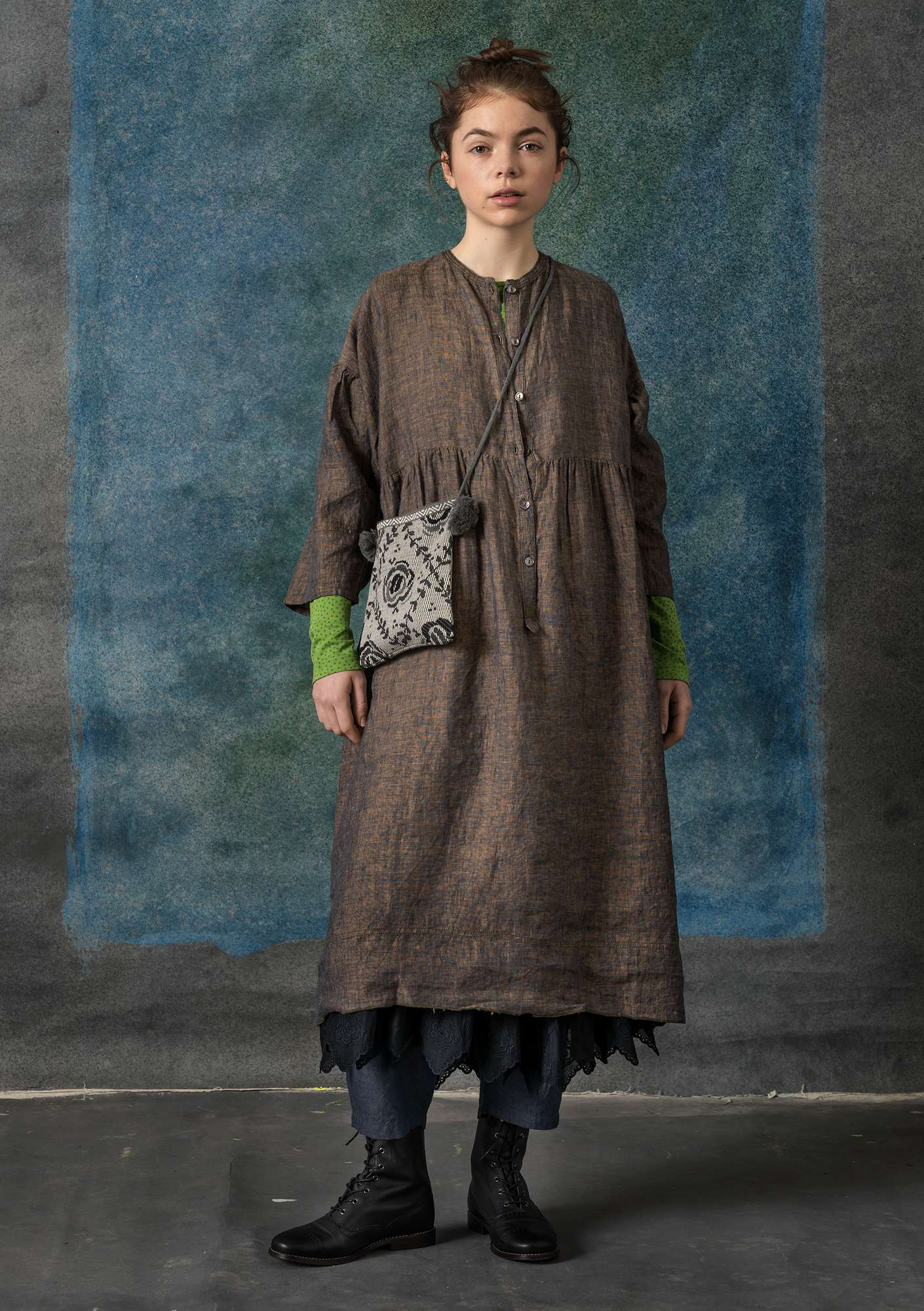 Eco-linen chambray dress clay