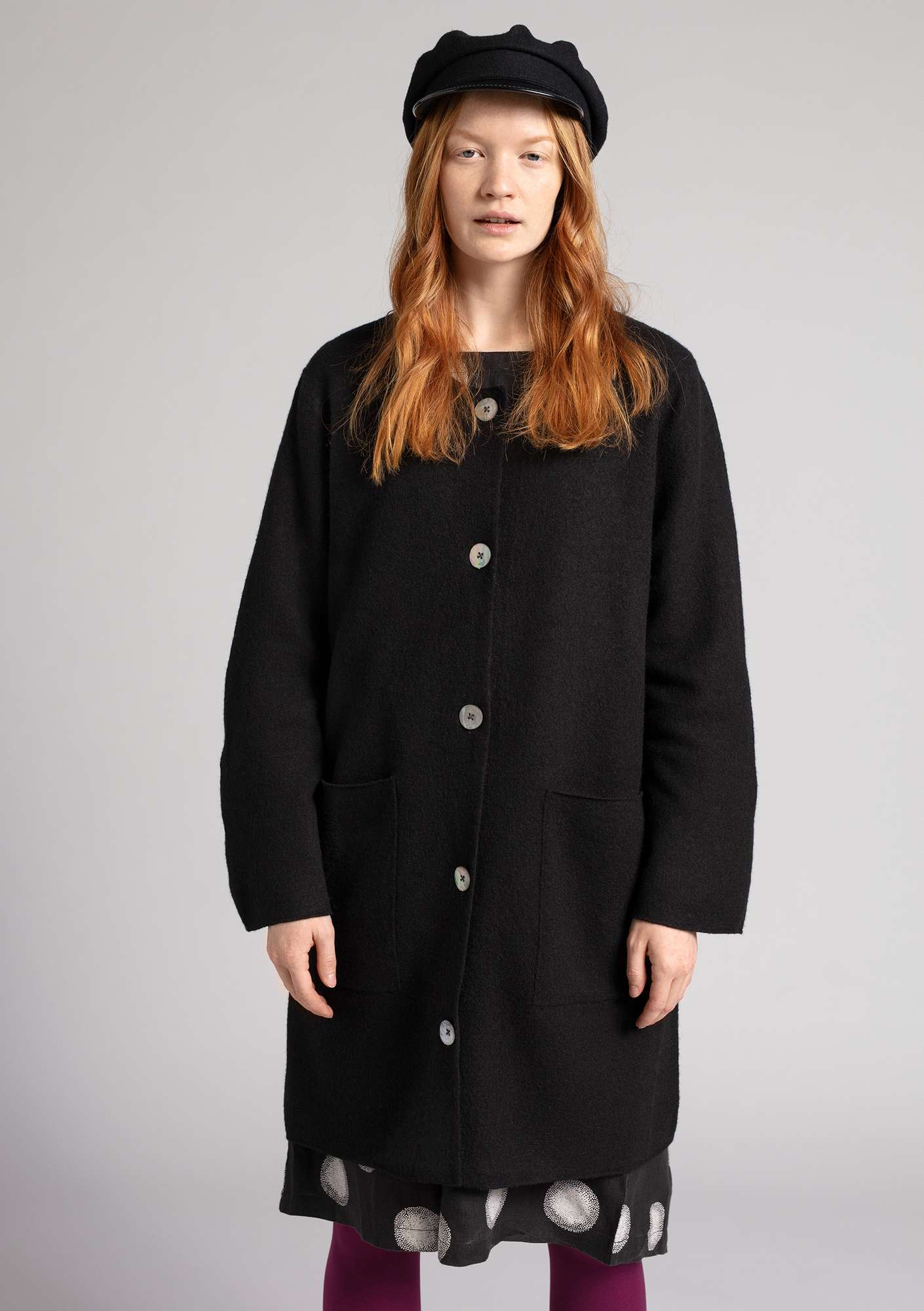 Long cardigan in felted wool black
