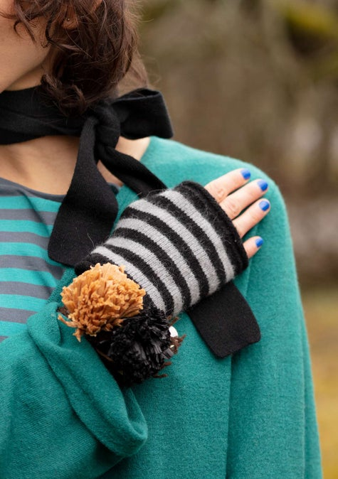 Knit fingerless gloves black/light grey melange