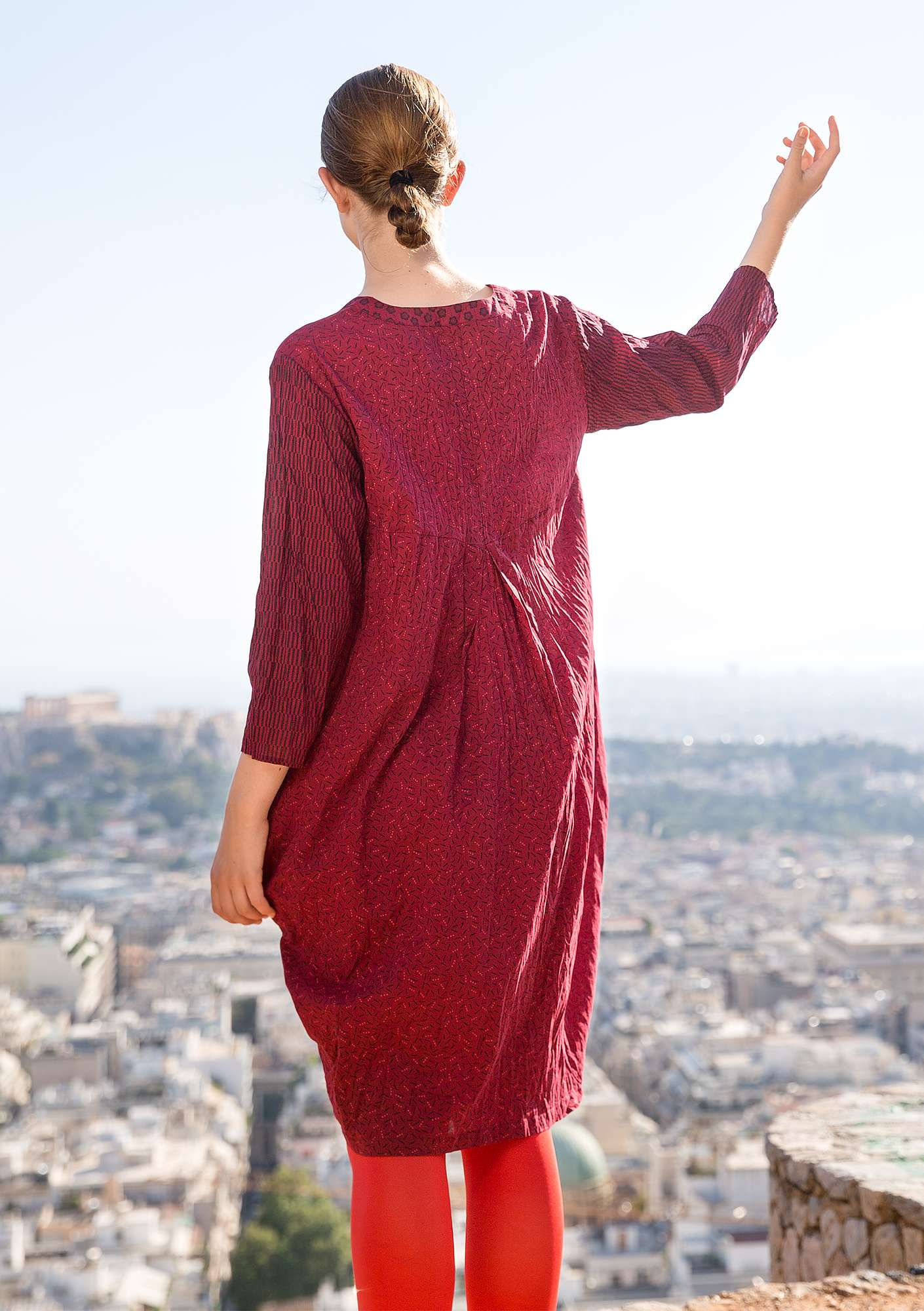 """Pinje"" dress in eco-cotton pomegranate"